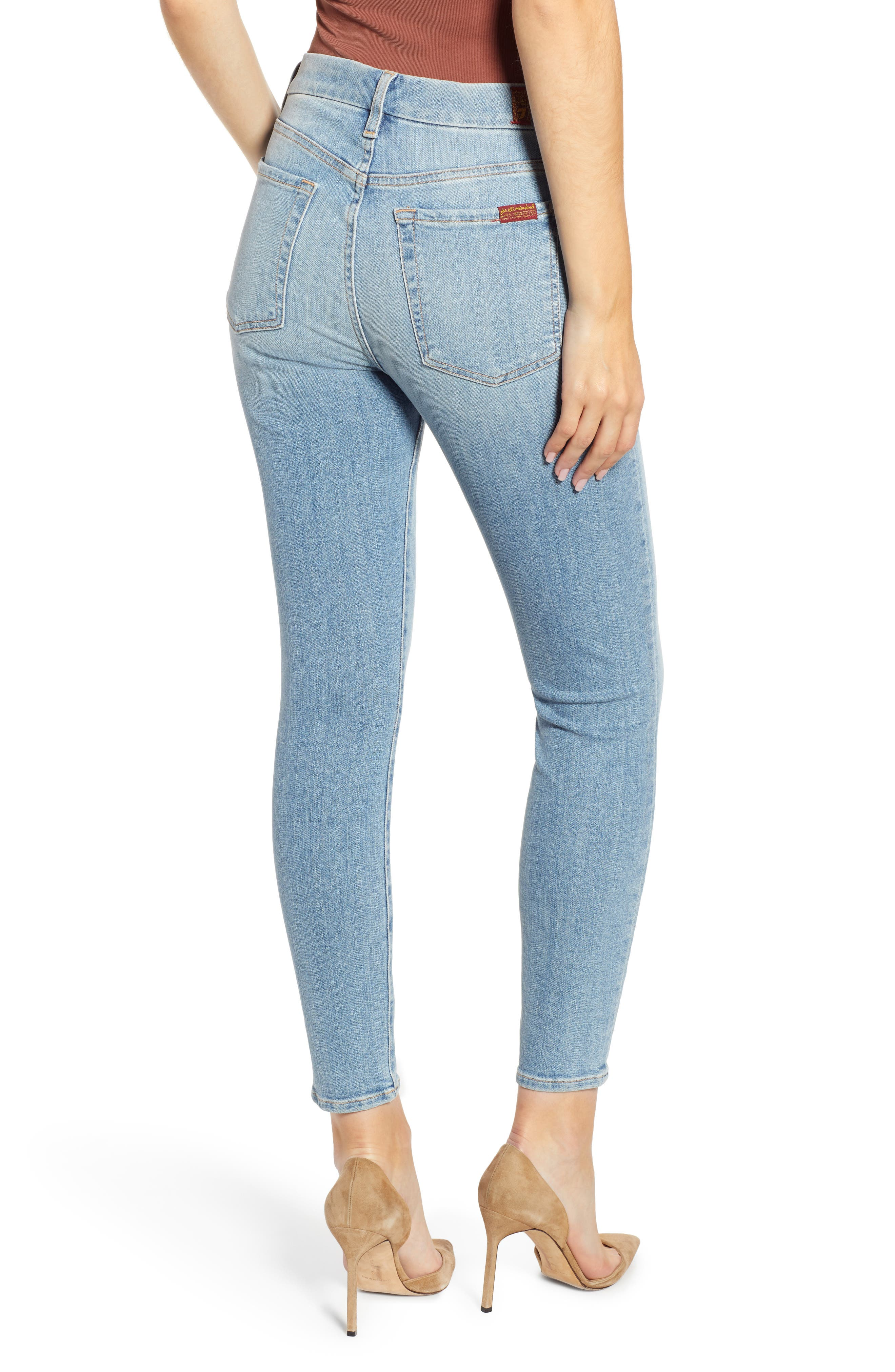 7 FOR ALL MANKIND<SUP>®</SUP>, The High Waist Ankle Skinny Jeans, Alternate thumbnail 2, color, SANDED LIGHT