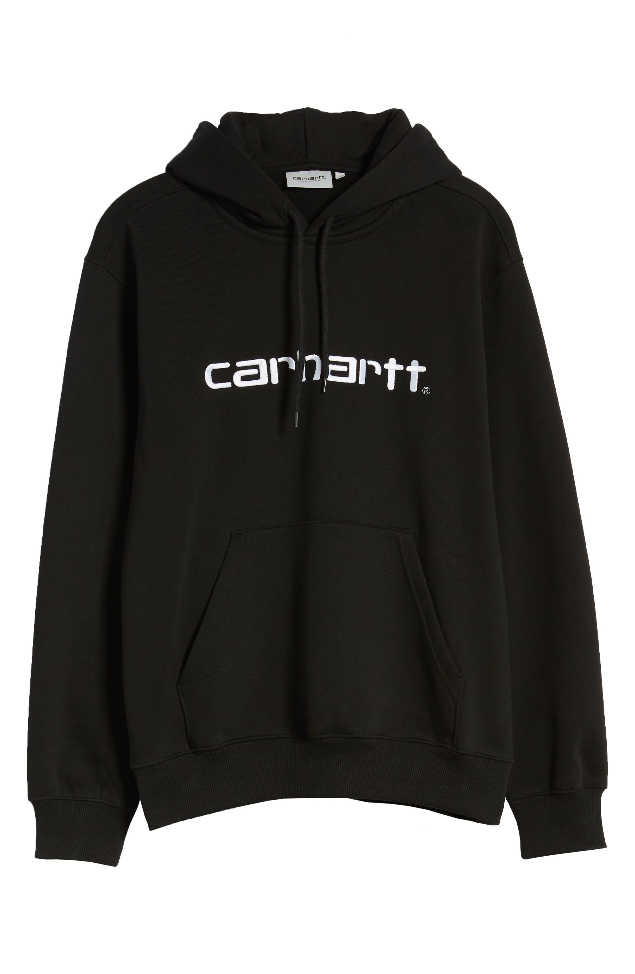 CARHARTT WORK IN PROGRESS, Logo Embroidered Hooded Sweatshirt, Alternate thumbnail 6, color, BLACK / WHITE
