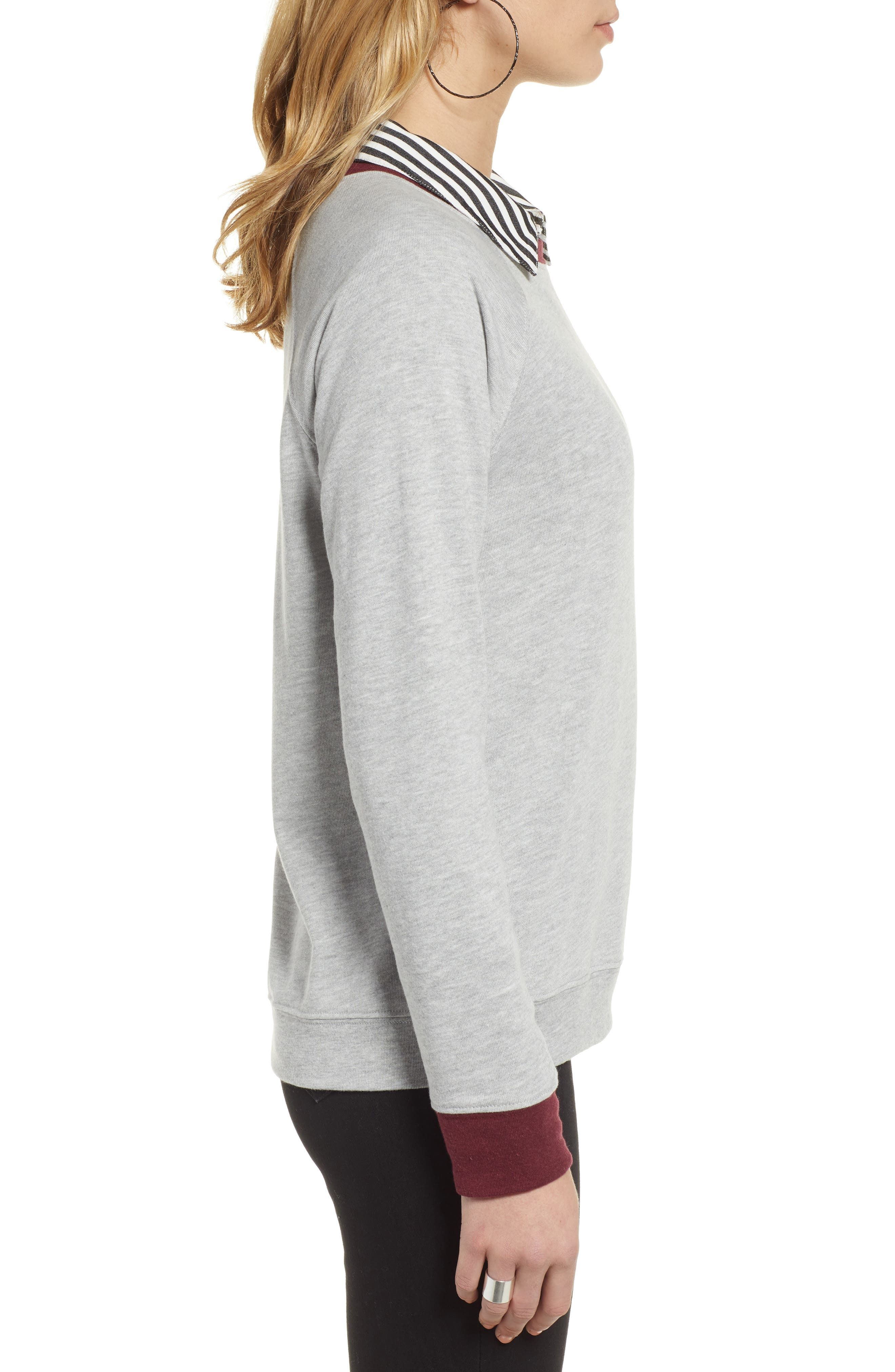 TREASURE & BOND, Crewneck Sweatshirt, Alternate thumbnail 3, color, GREY HEATHER- RED TANNIN COMBO