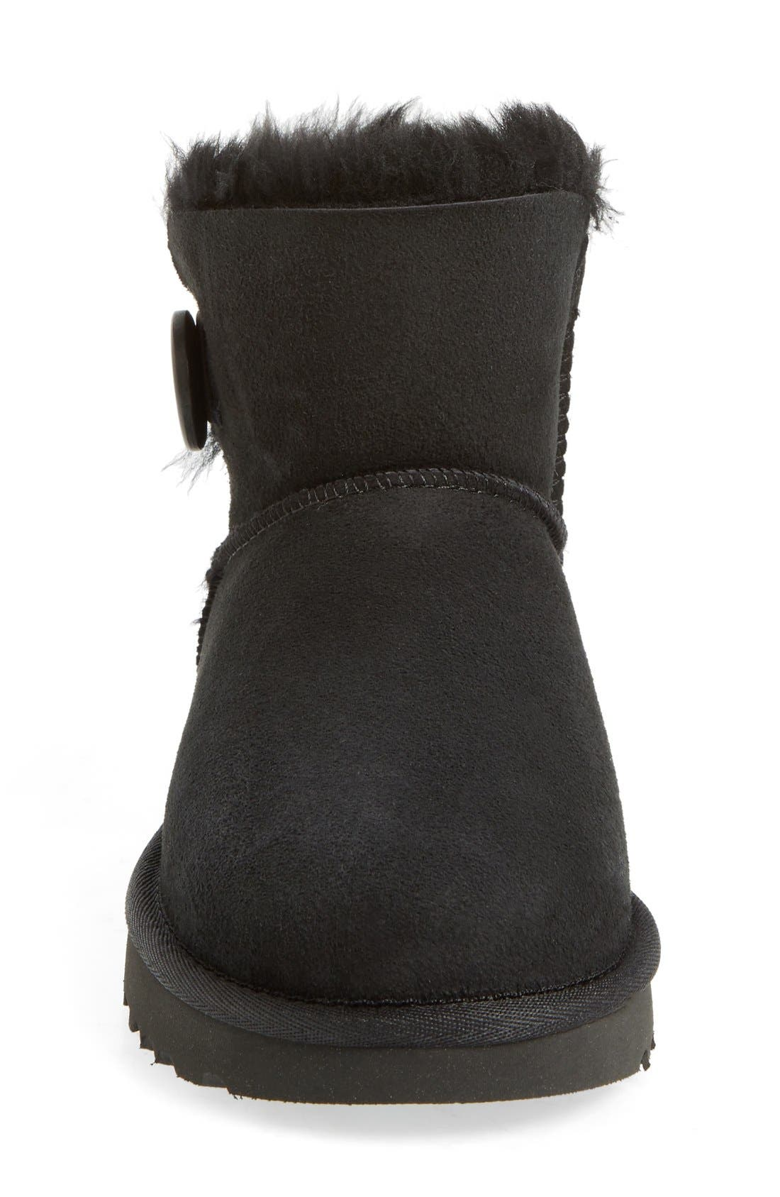 UGG<SUP>®</SUP>, Mini Bailey Button II Genuine Shearling Boot, Alternate thumbnail 3, color, BLACK SUEDE