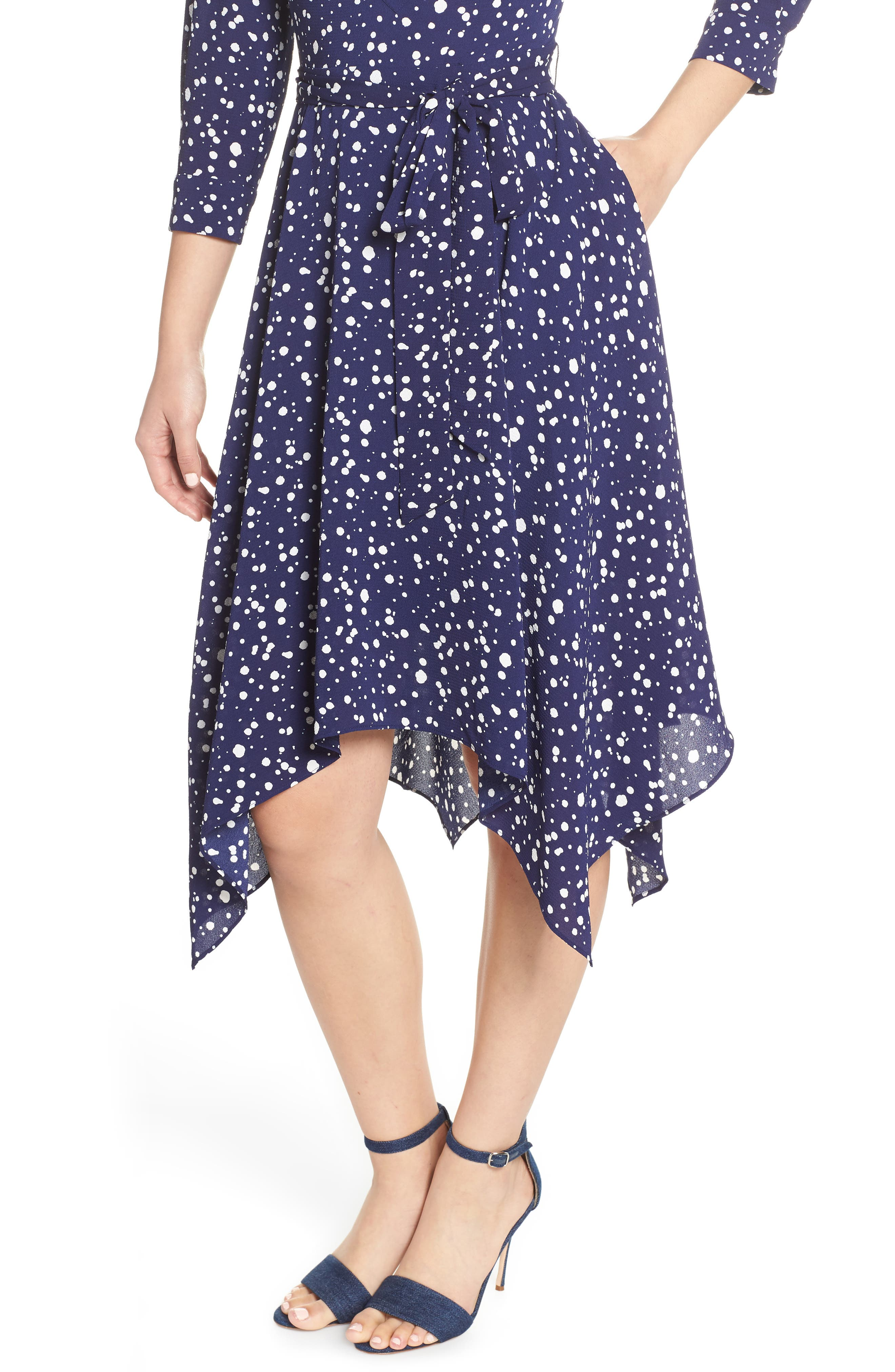ELIZA J, Handkerchief Hem Midi Dress, Alternate thumbnail 5, color, 410