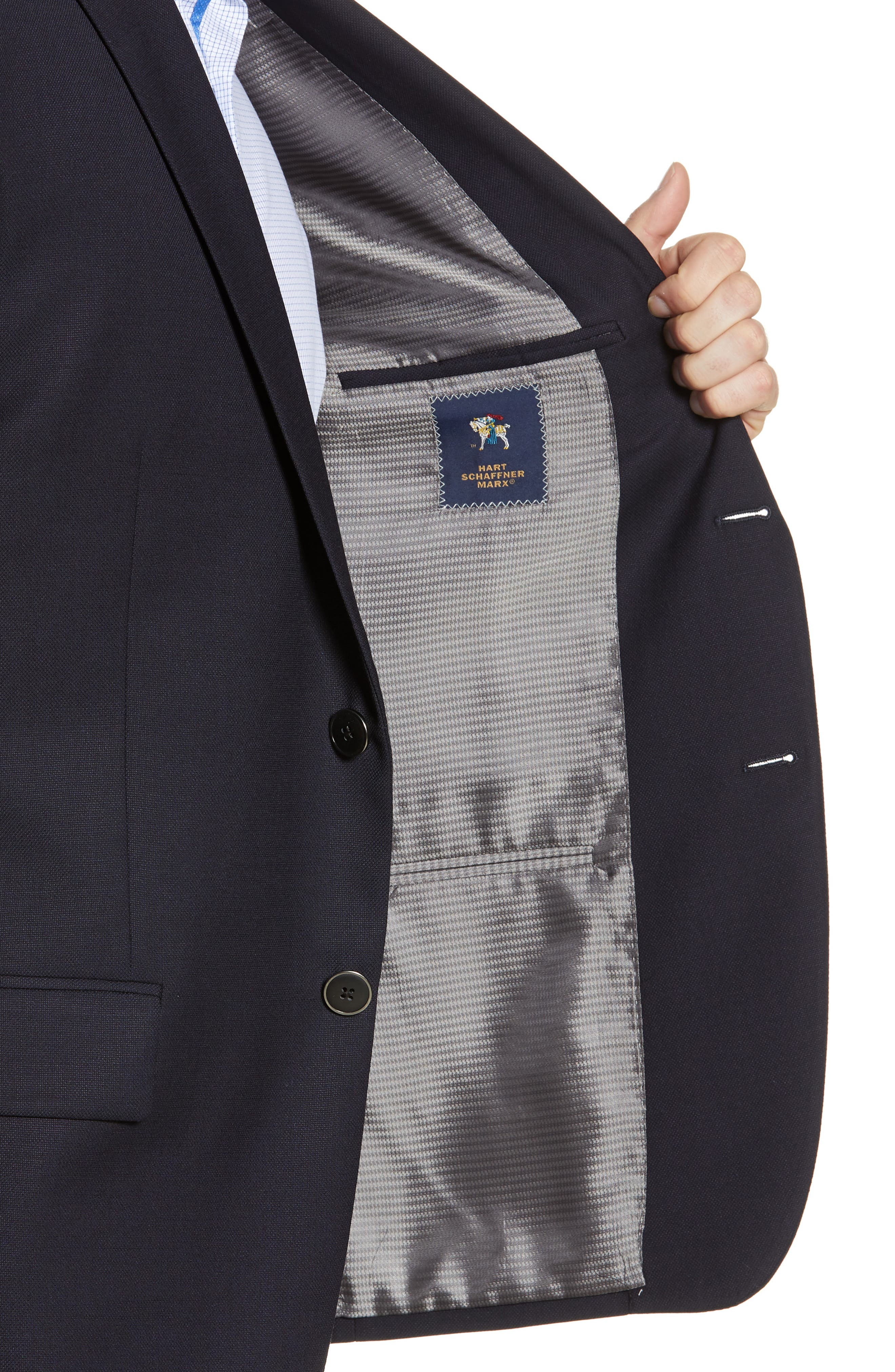 HART SCHAFFNER MARX, New York Classic Fit Wool Blend Blazer, Alternate thumbnail 5, color, NAVY