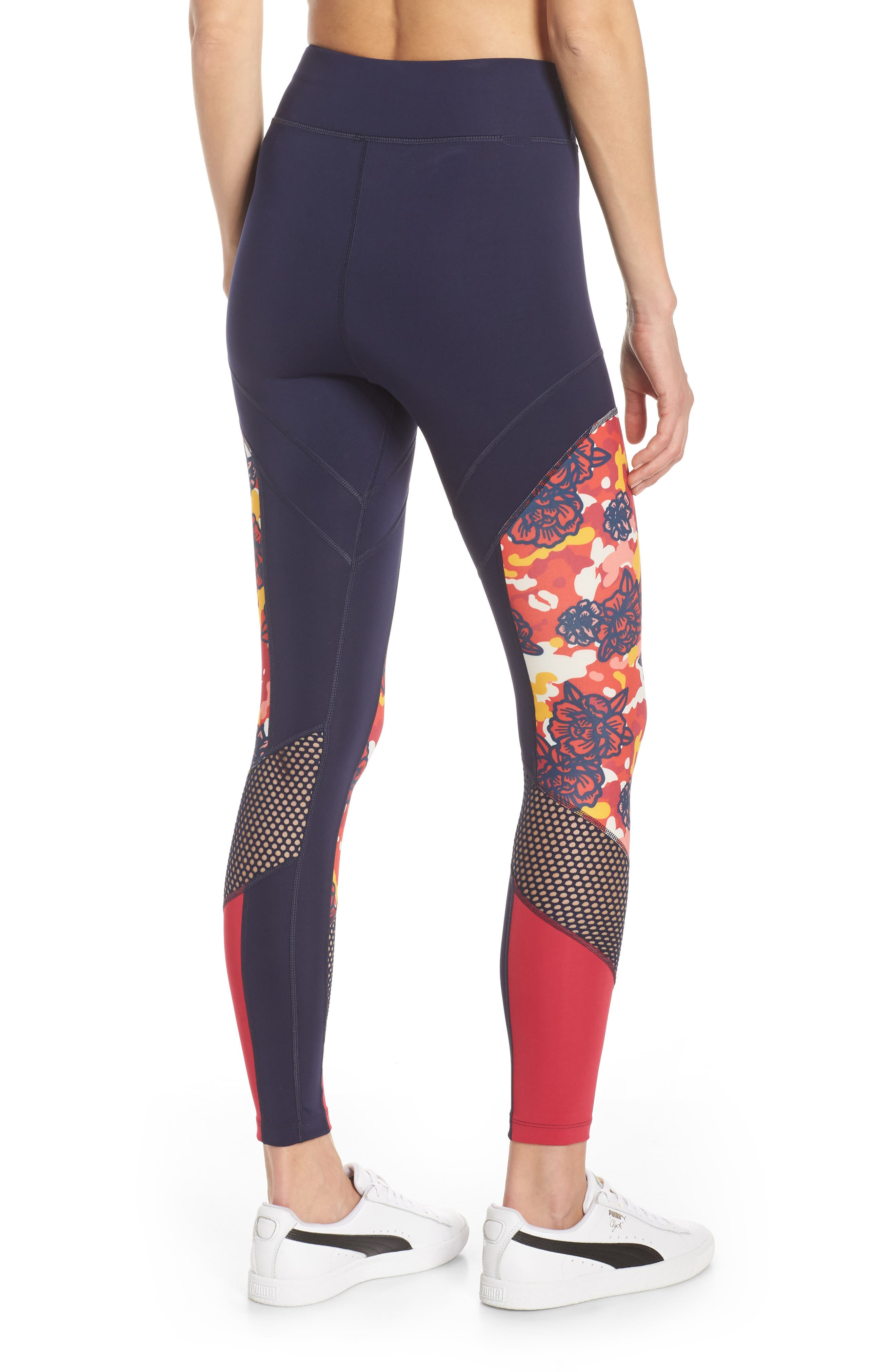 PUMA, Flourish Flourish XTG Leggings, Alternate thumbnail 2, color, PEACOAT-HIBISCUS MULTI