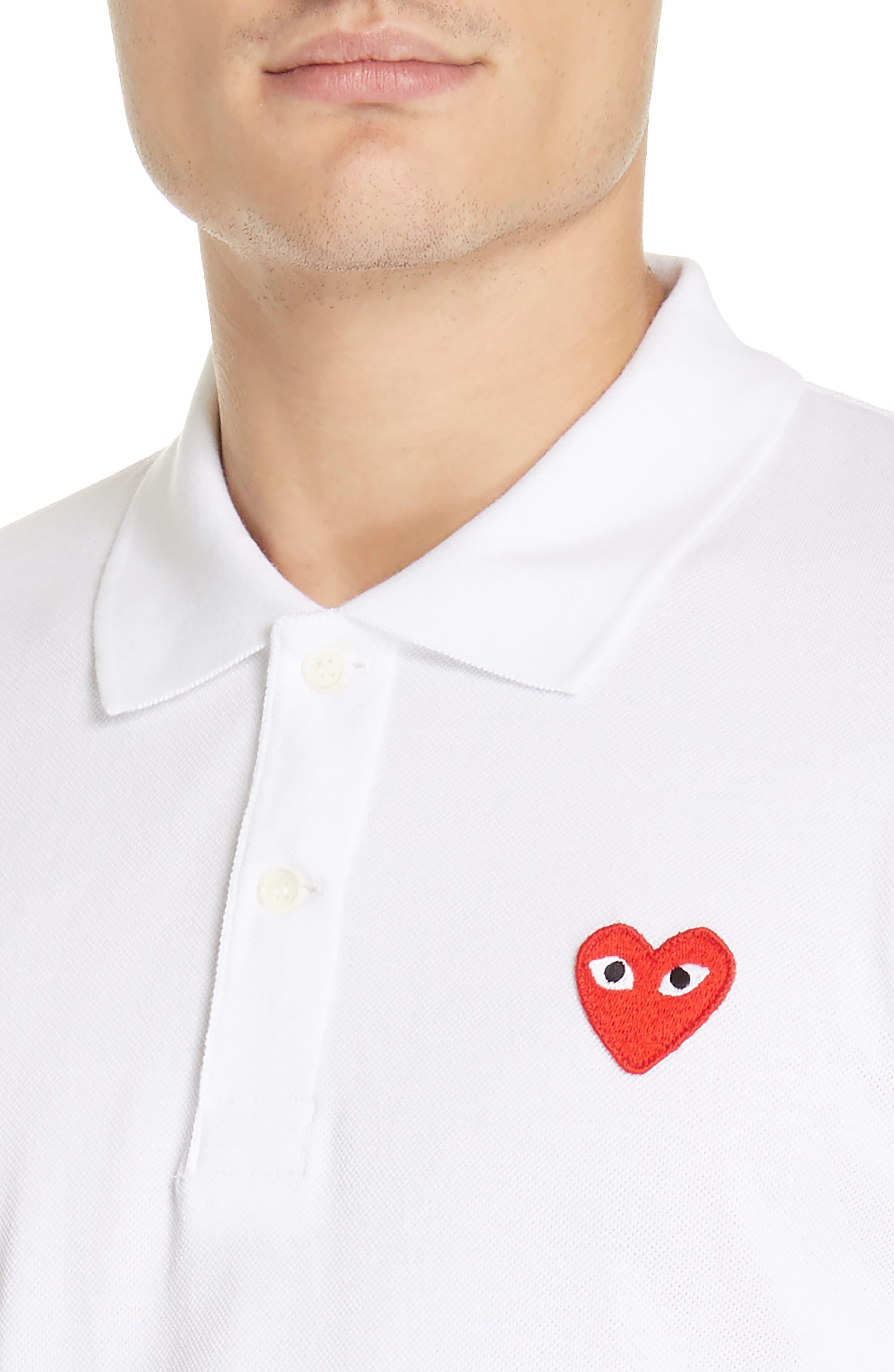 COMME DES GARÇONS PLAY, Heart Logo Polo, Alternate thumbnail 4, color, WHITE