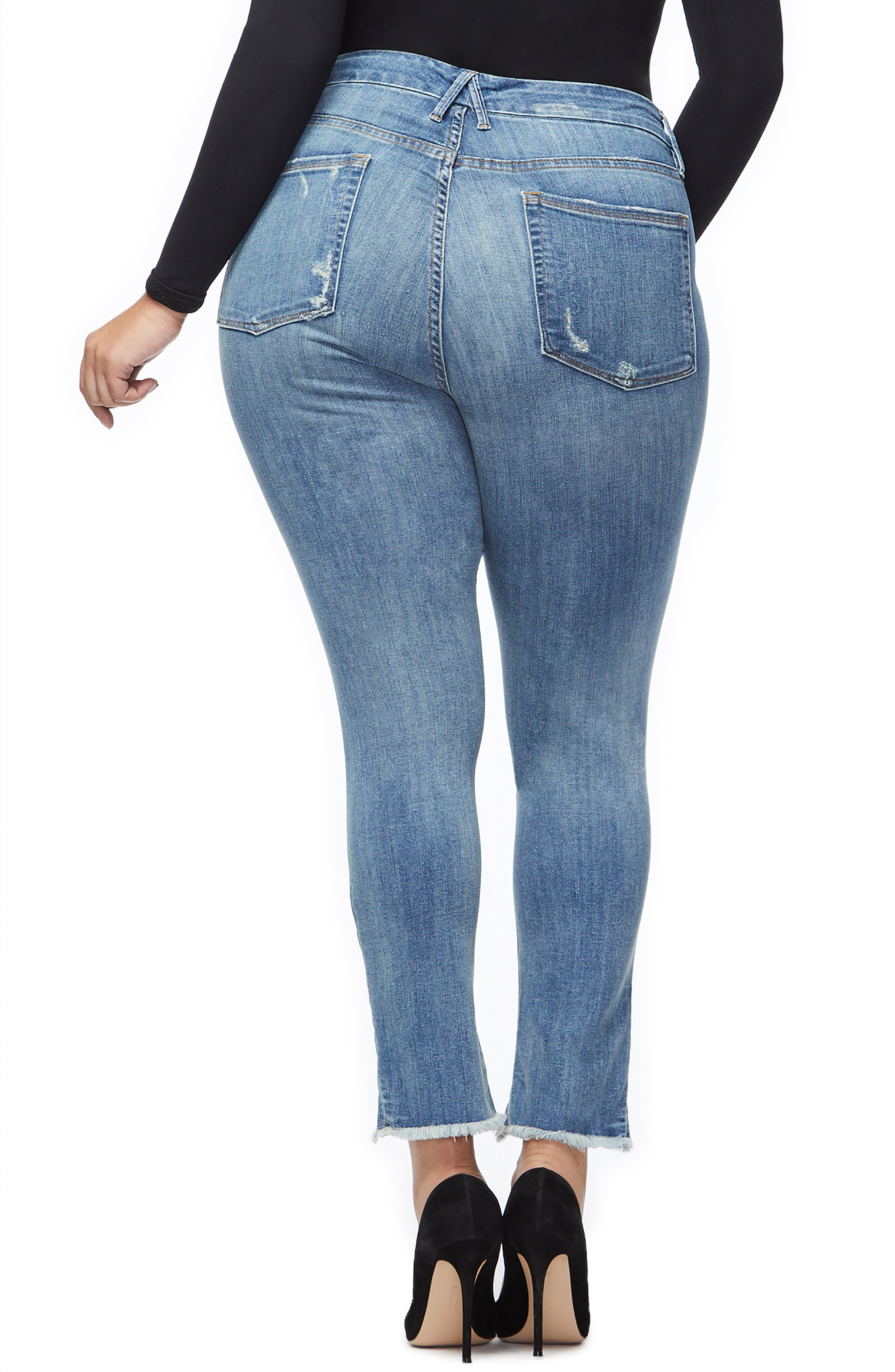 GOOD AMERICAN, Good Legs Ripped Skinny Jeans, Alternate thumbnail 6, color, BLUE 218