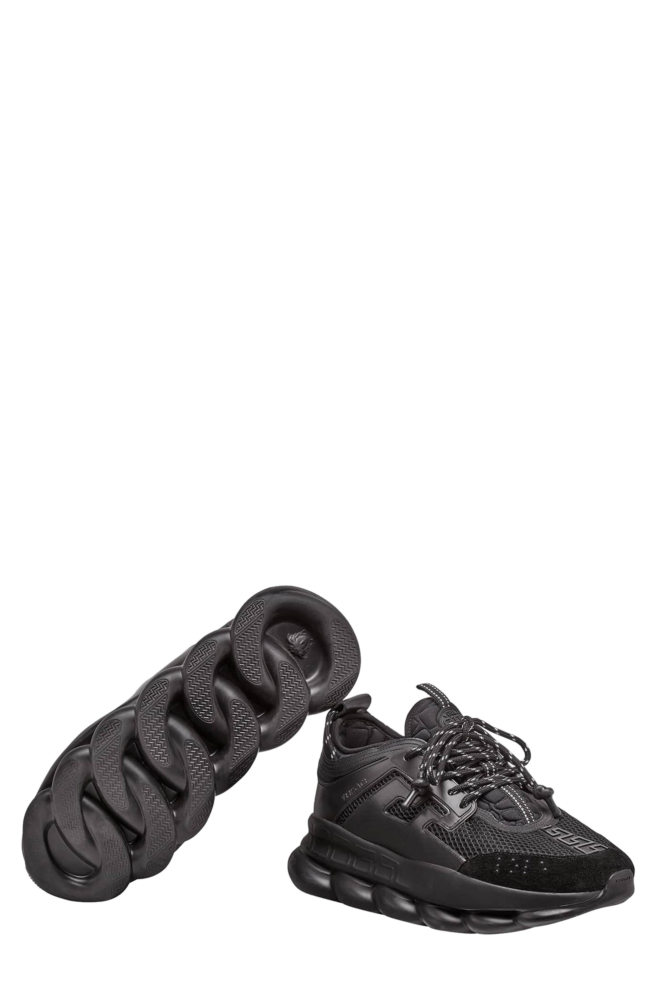 VERSACE FIRST LINE, Versace Chain Reaction Sneaker, Alternate thumbnail 6, color, NERO
