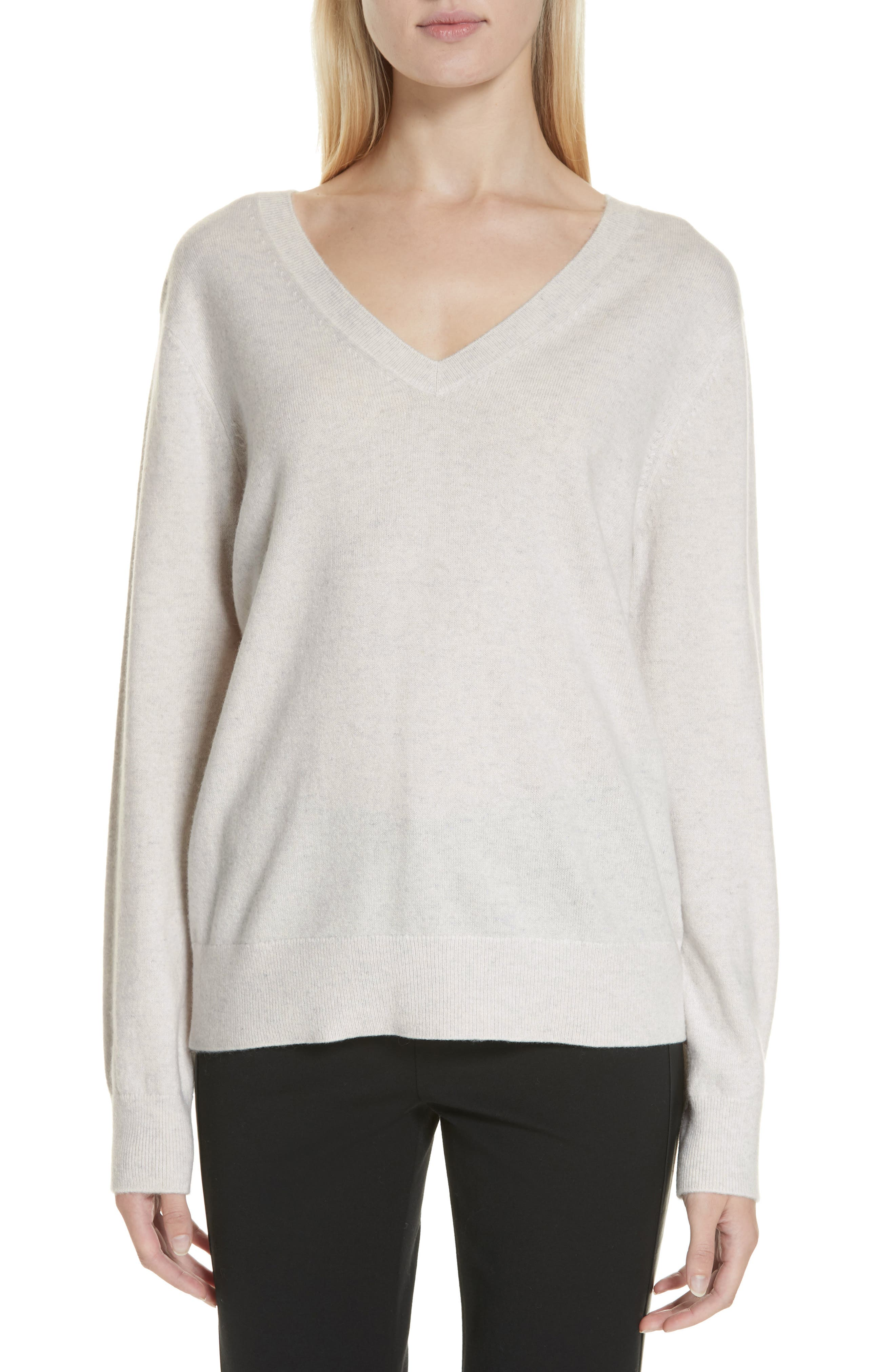VINCE, Weekend V-Neck Cashmere Sweater, Main thumbnail 1, color, HEATHER WHITE