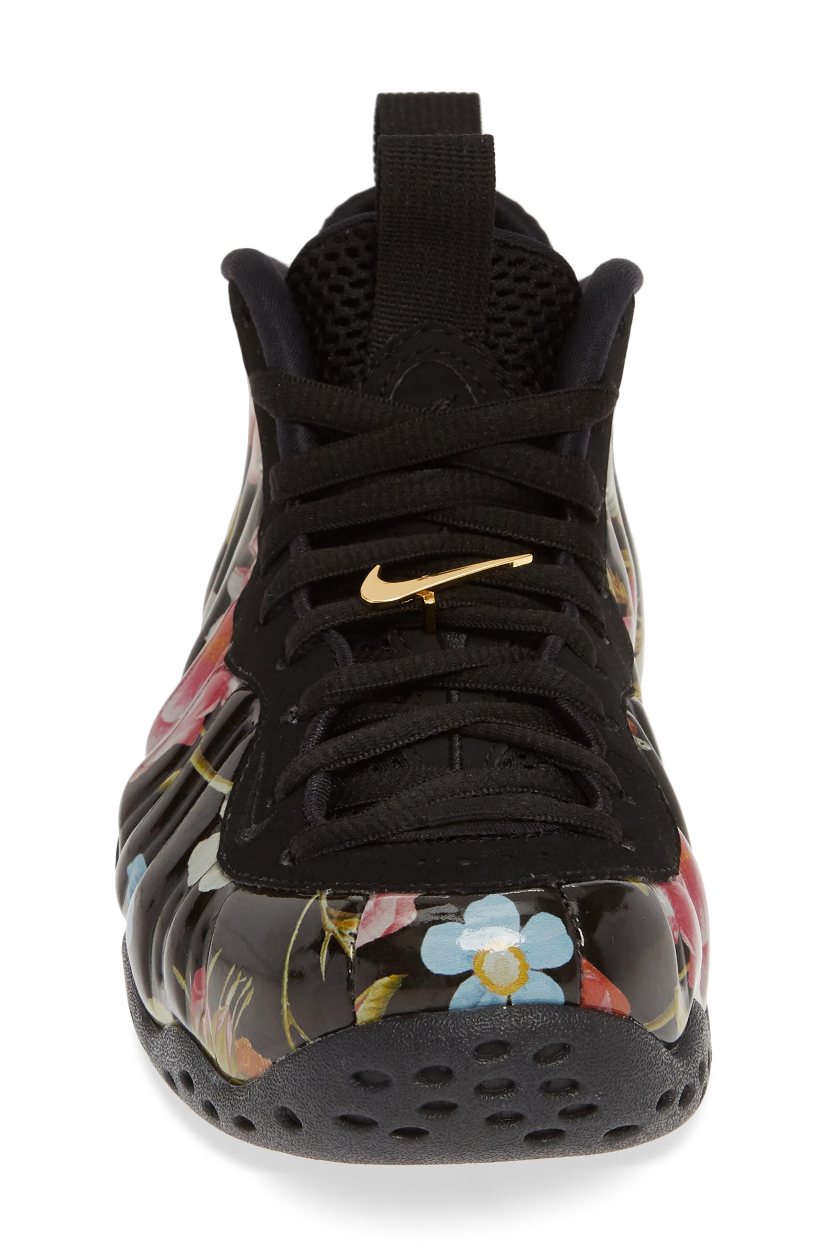 NIKE, Air Foamposite One Sneaker, Alternate thumbnail 4, color, BLACK/ BLACK-METALLIC GOLD