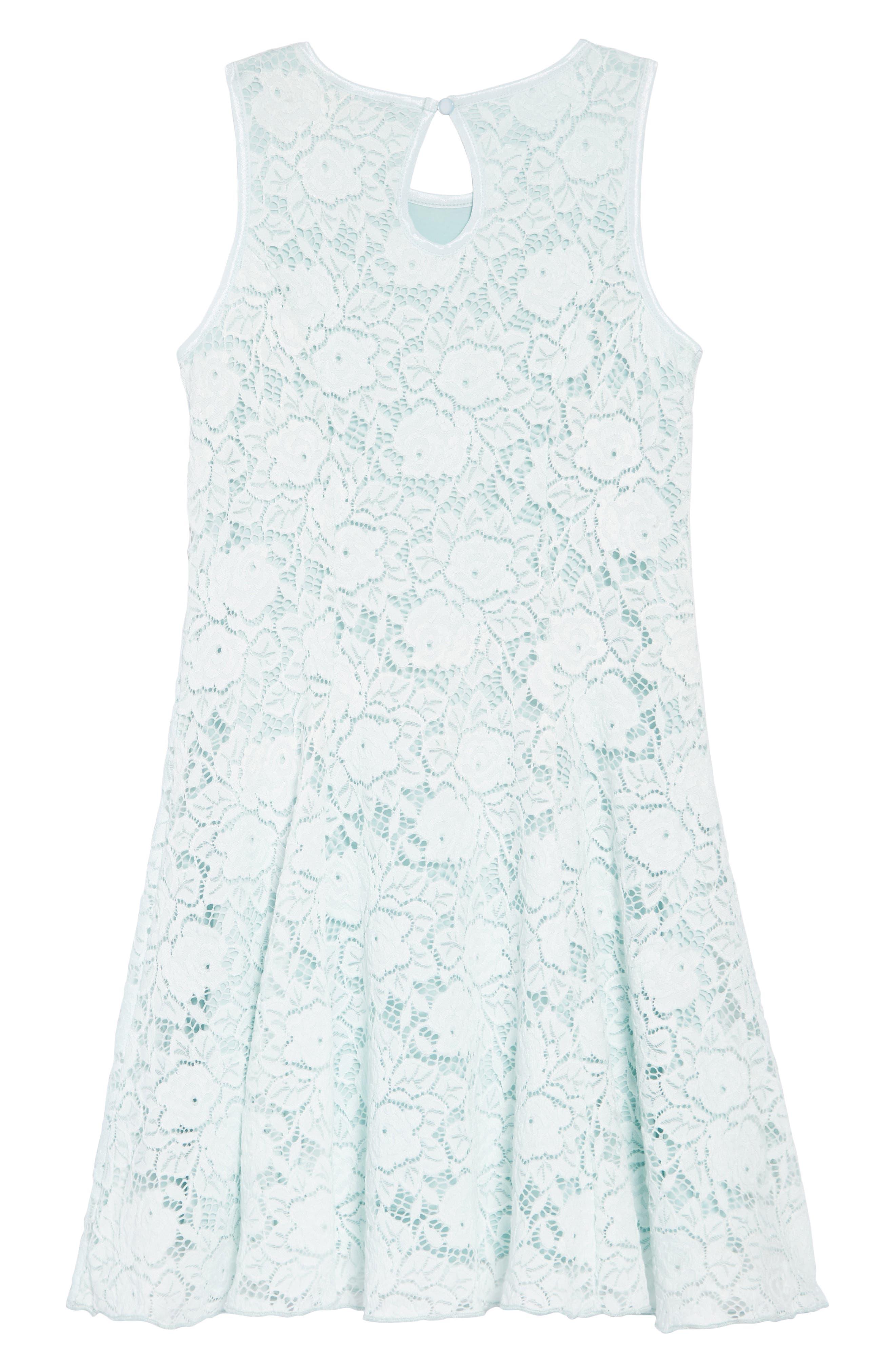 ZUNIE, Lace Skater Dress, Alternate thumbnail 2, color, MINT