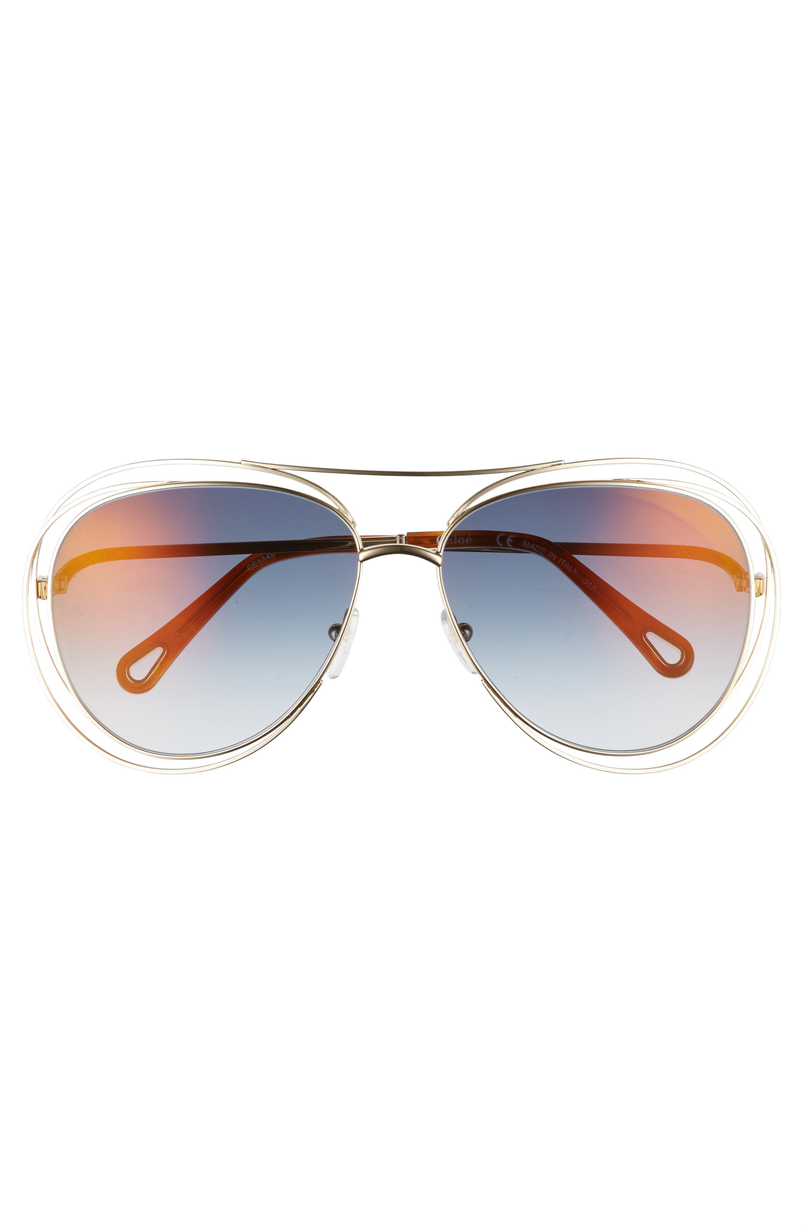 CHLOÉ, 61mm Aviator Sunglasses, Alternate thumbnail 3, color, GOLD/ HAVANA/ FLASH BLUE