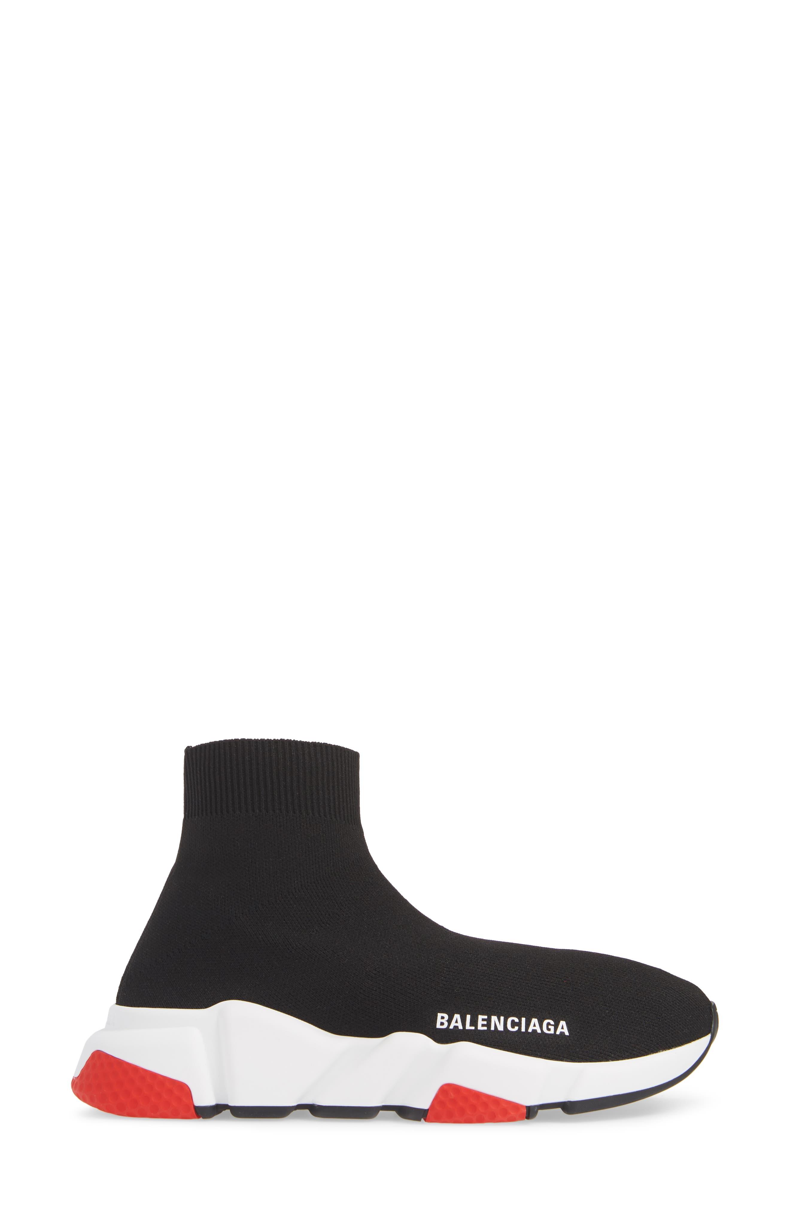 BALENCIAGA, Speed Knit Sneaker, Alternate thumbnail 3, color, BLACK/ RED