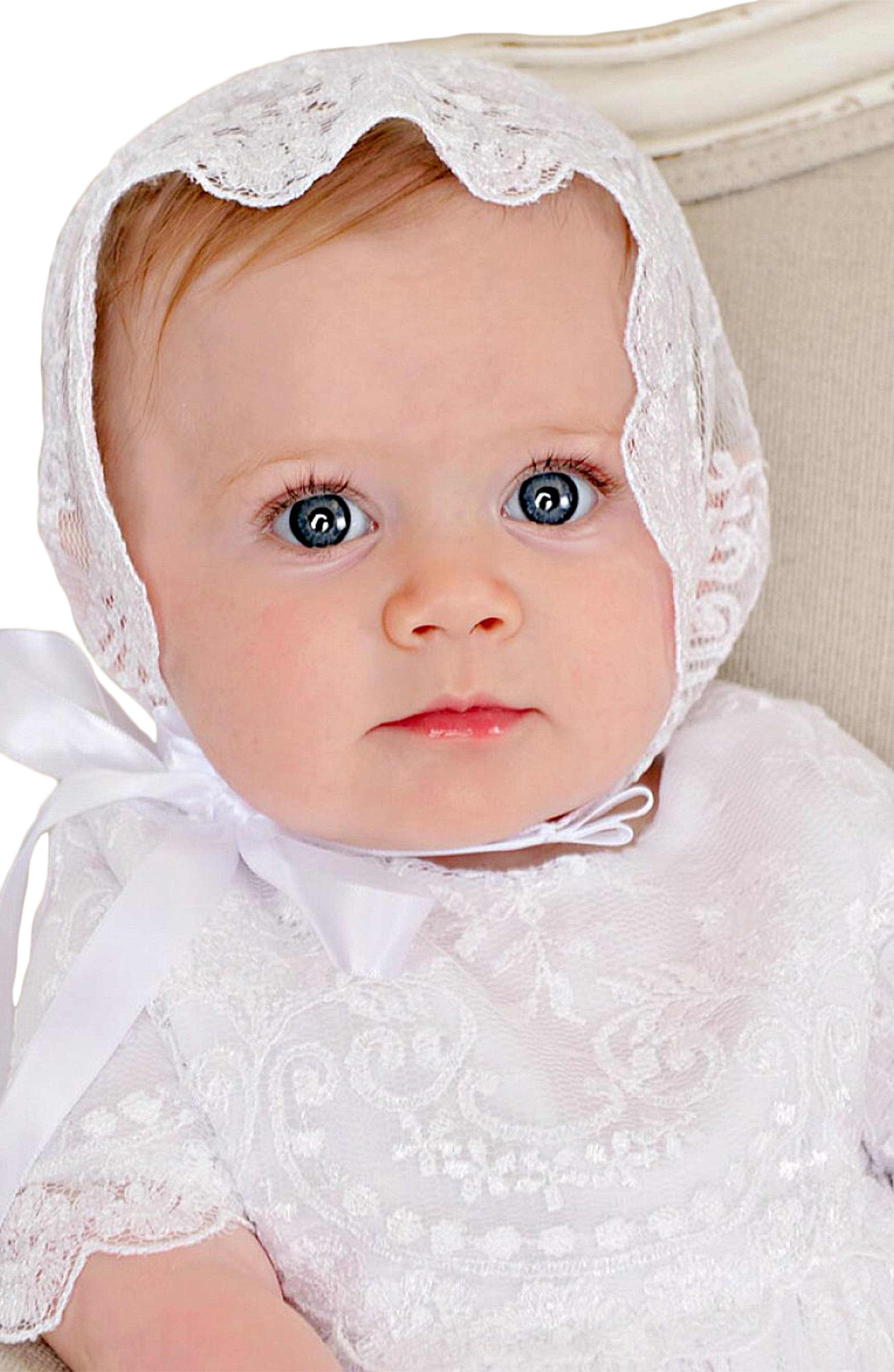 LITTLE THINGS MEAN A LOT, Christening Gown, Shawl, Slip & Bonnet Set, Alternate thumbnail 5, color, WHITE