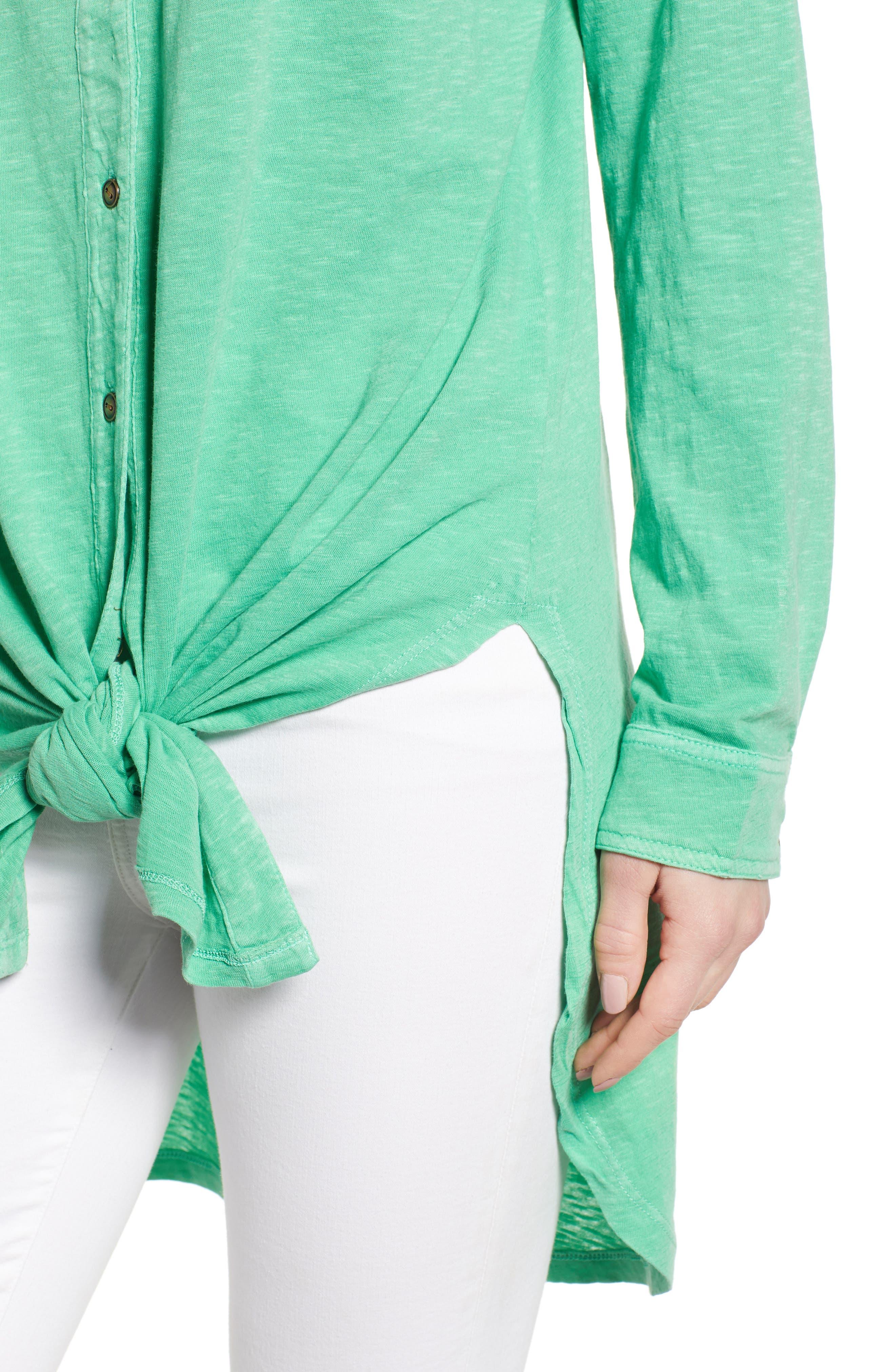 CASLON<SUP>®</SUP>, Button Down Knit Tunic, Alternate thumbnail 4, color, GREEN KATYDID