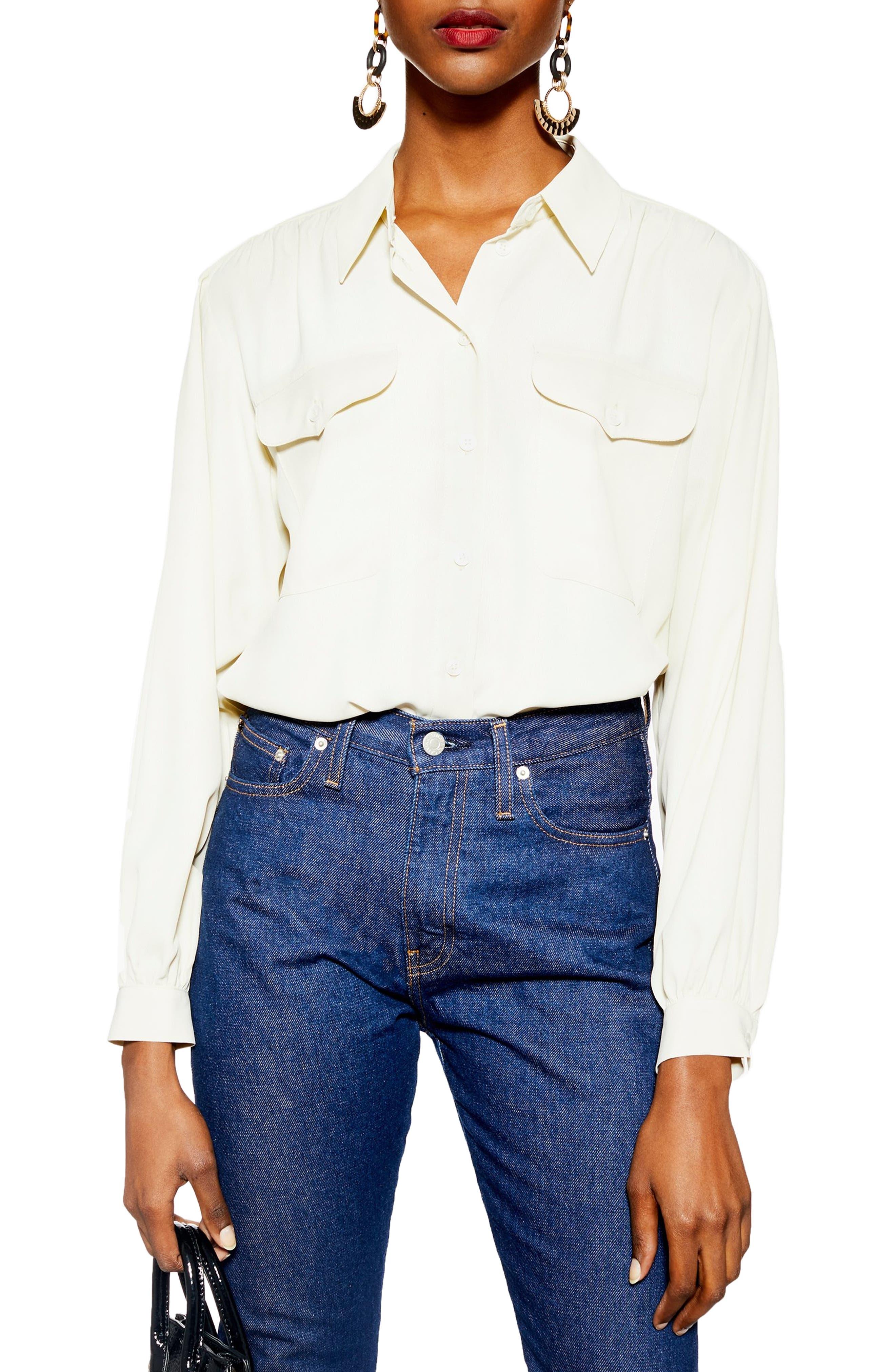 TOPSHOP, Smart Pocket Shirt, Main thumbnail 1, color, NUDE