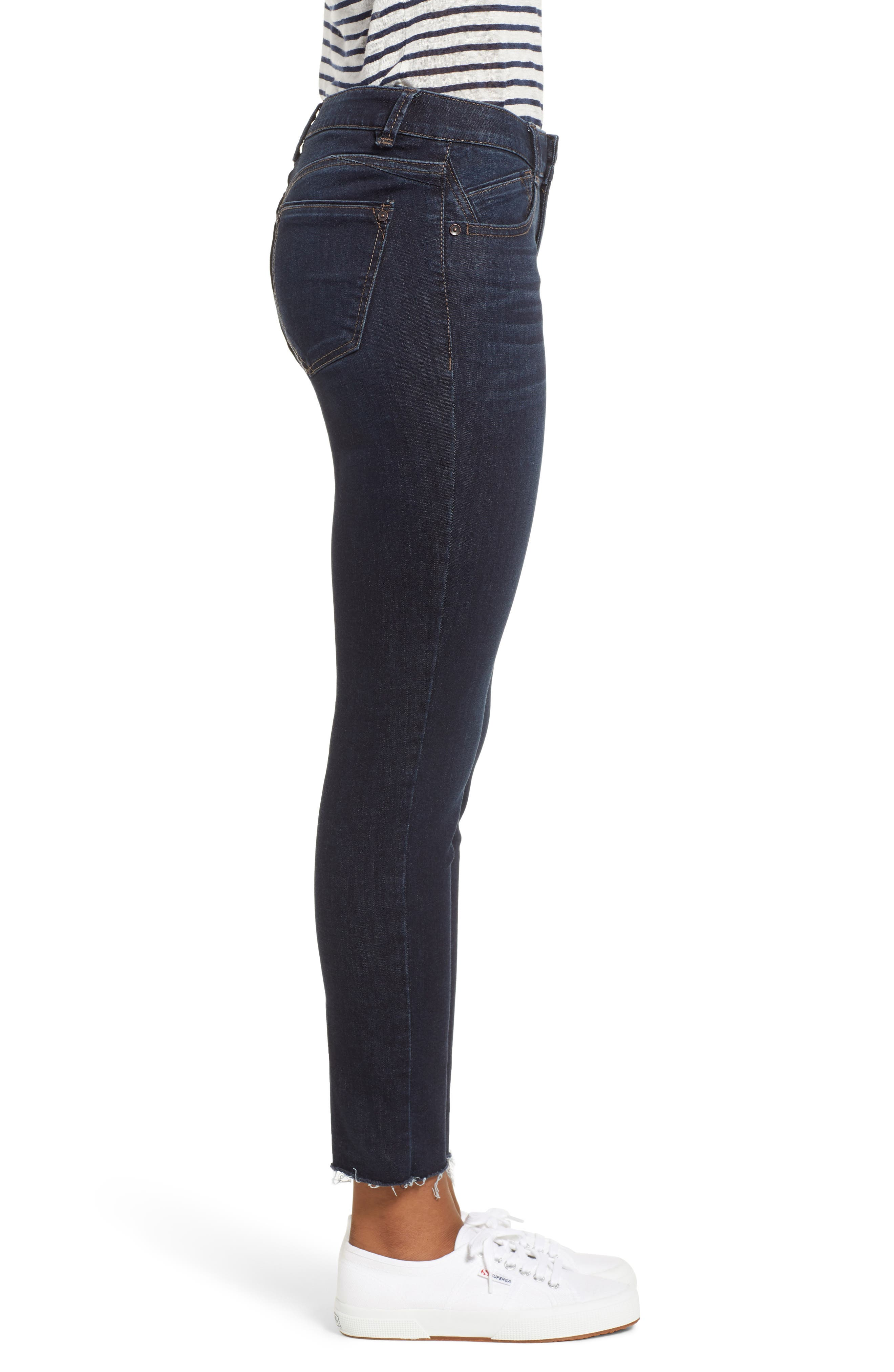 WIT & WISDOM, Ab-Solution Raw Hem Skinny Jeans, Alternate thumbnail 4, color, INDIGO