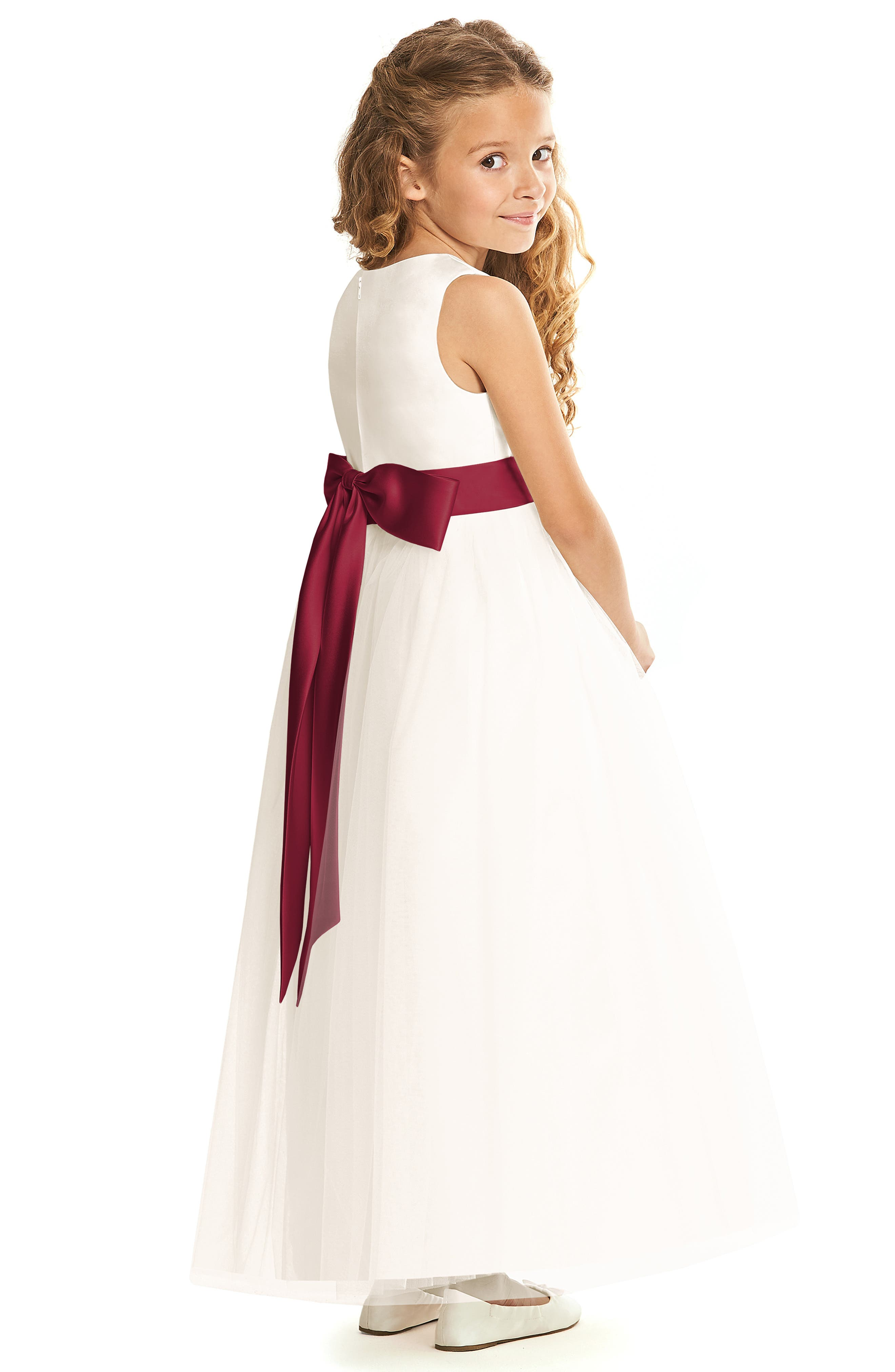 DESSY COLLECTION, Flower Girl Dress, Alternate thumbnail 2, color, IVORY WITH BURGUNDY SASH