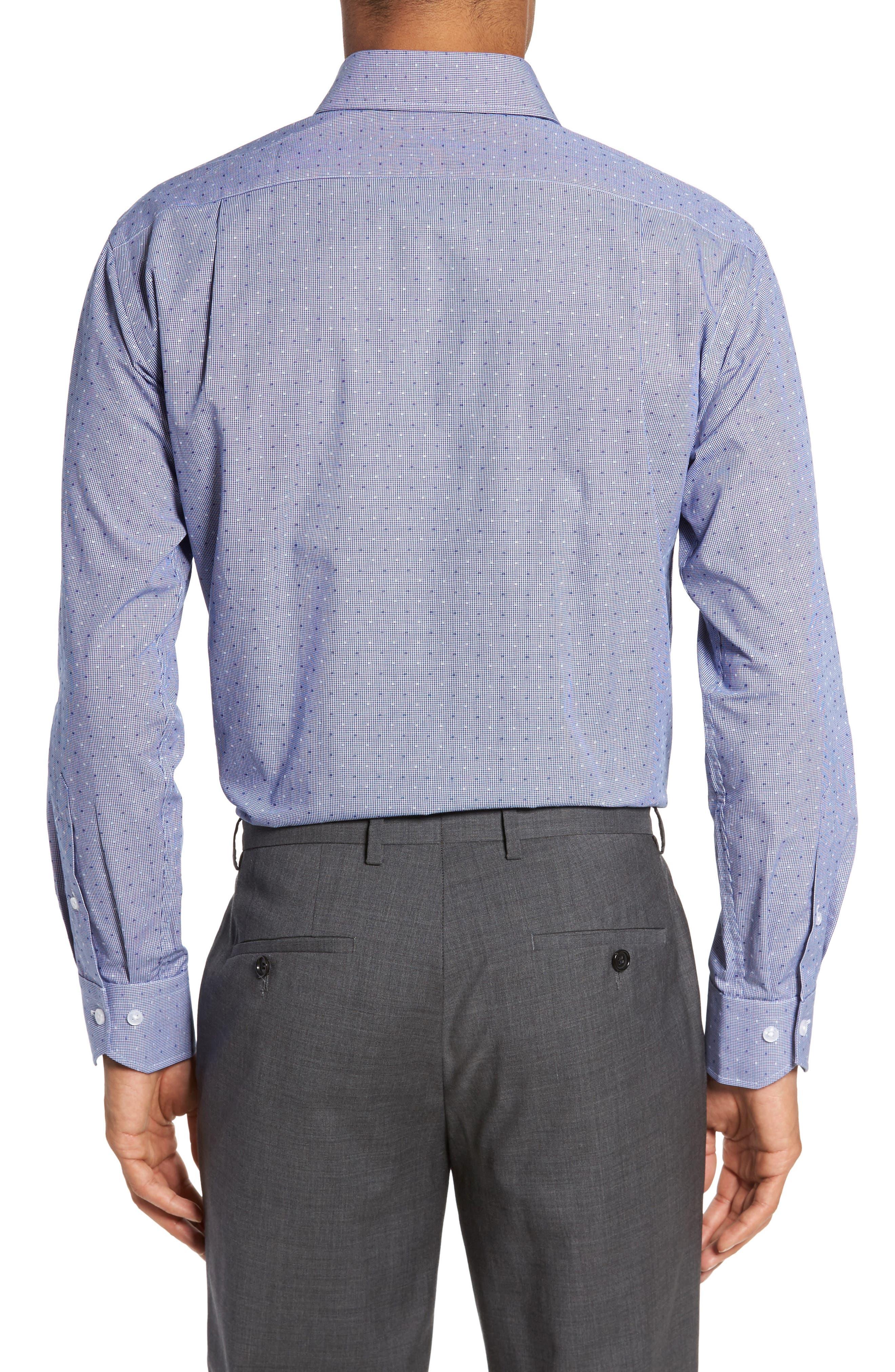 LORENZO UOMO, Trim Fit Check Dress Shirt, Alternate thumbnail 2, color, NAVY
