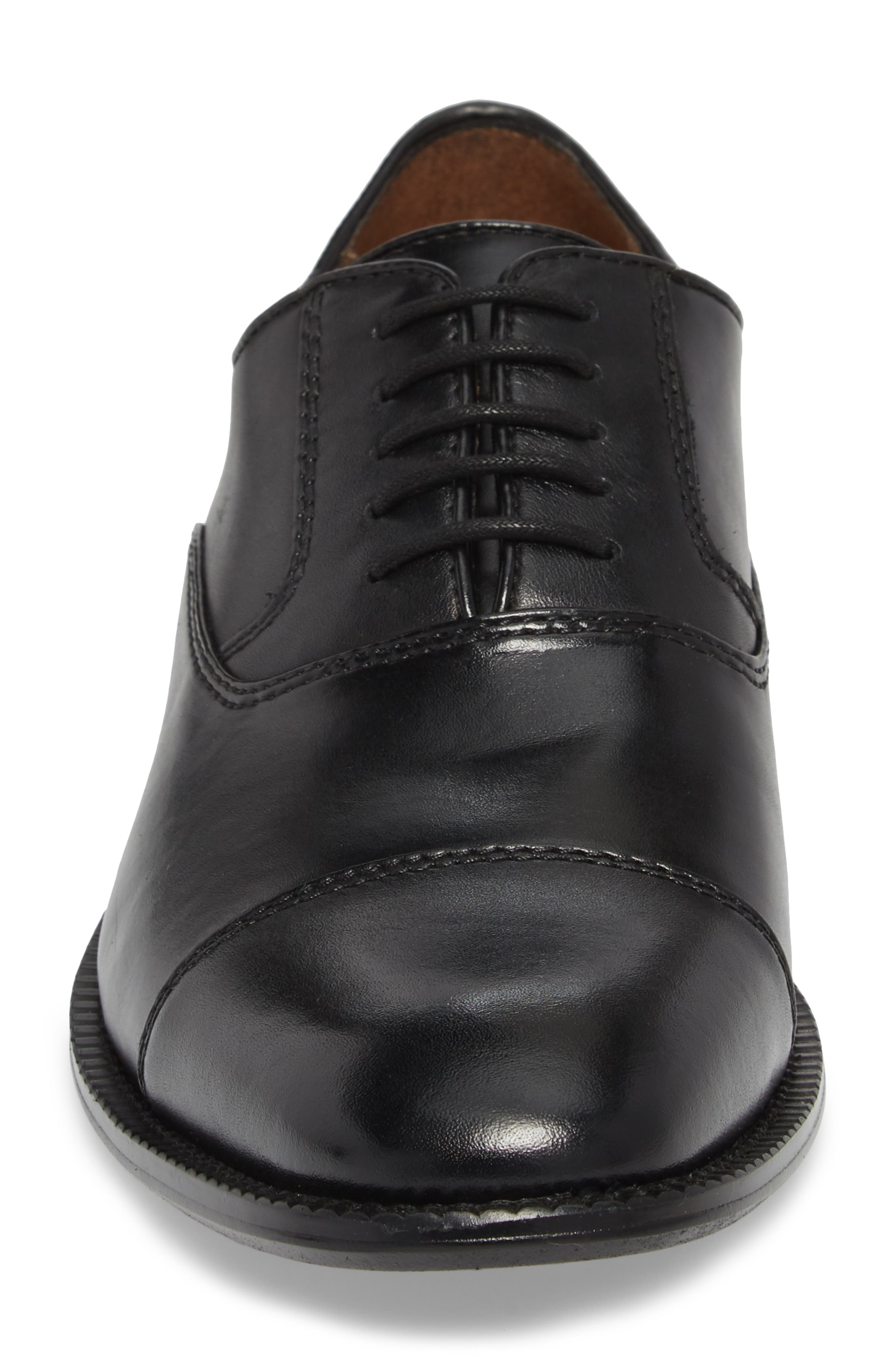 KENNETH COLE NEW YORK, Dice Cap Toe Oxford, Alternate thumbnail 4, color, BLACK LEATHER