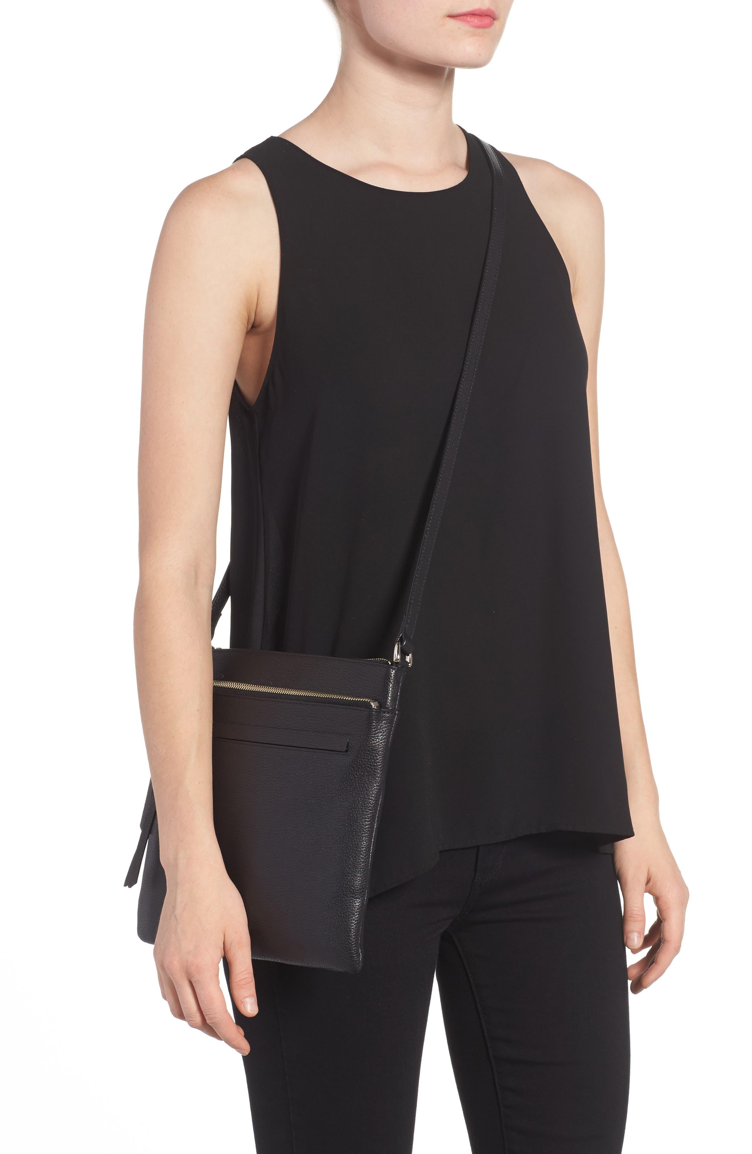 NORDSTROM, Finn Leather Crossbody Bag, Alternate thumbnail 2, color, BLACK