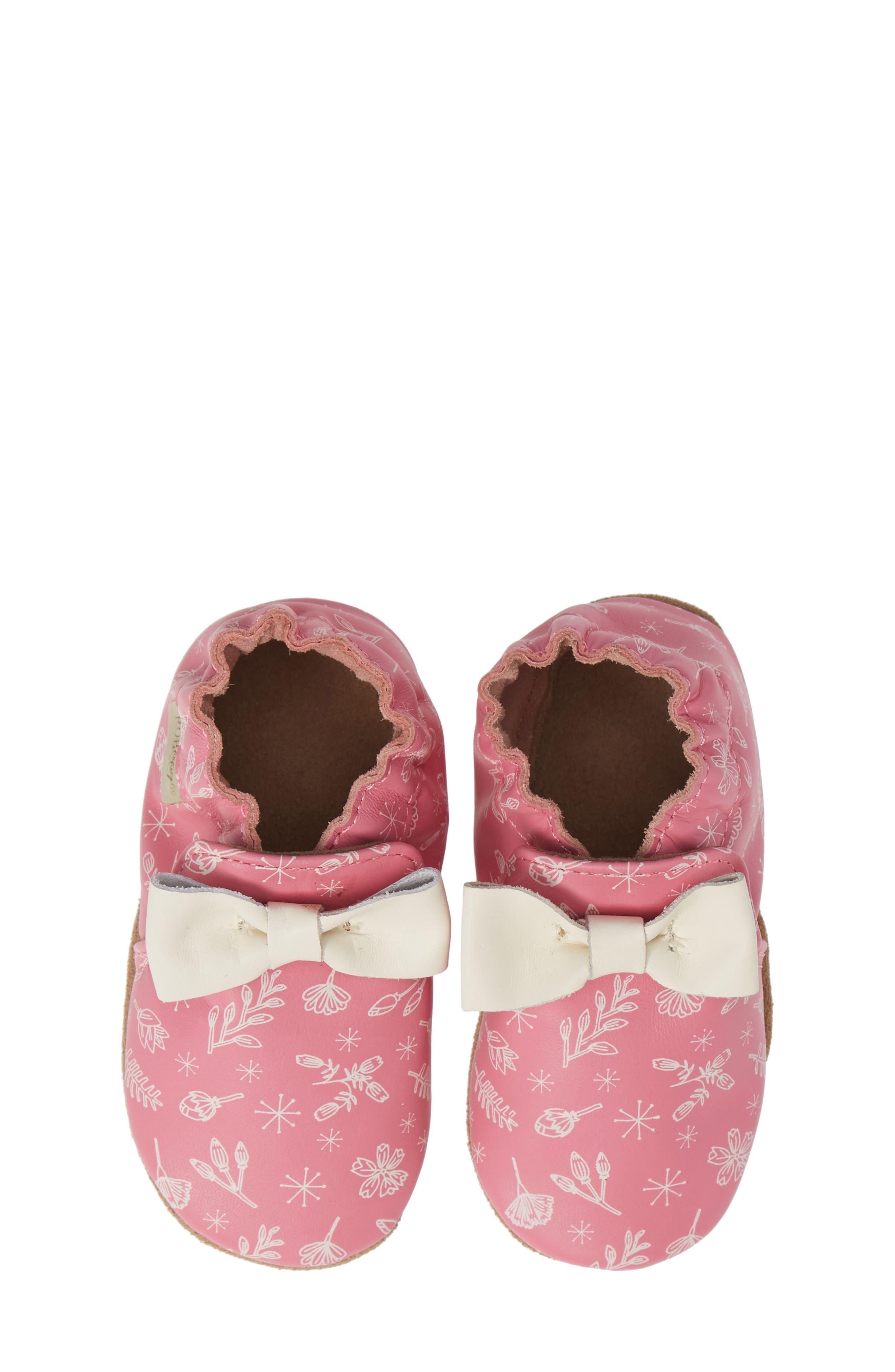 ROBEEZ<SUP>®</SUP> Francesca Floral Crib Shoe, Main, color, PINK
