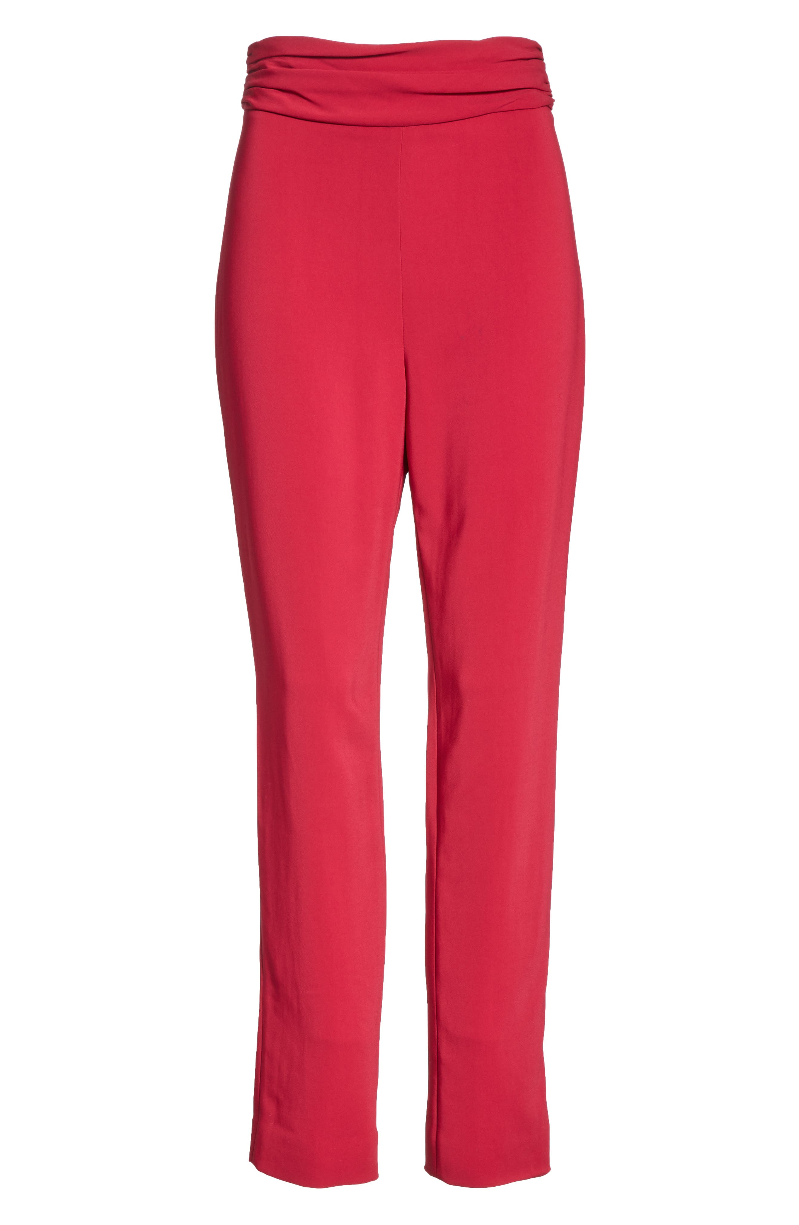 CUSHNIE, High Waist Pants, Alternate thumbnail 6, color, CAMELLIA