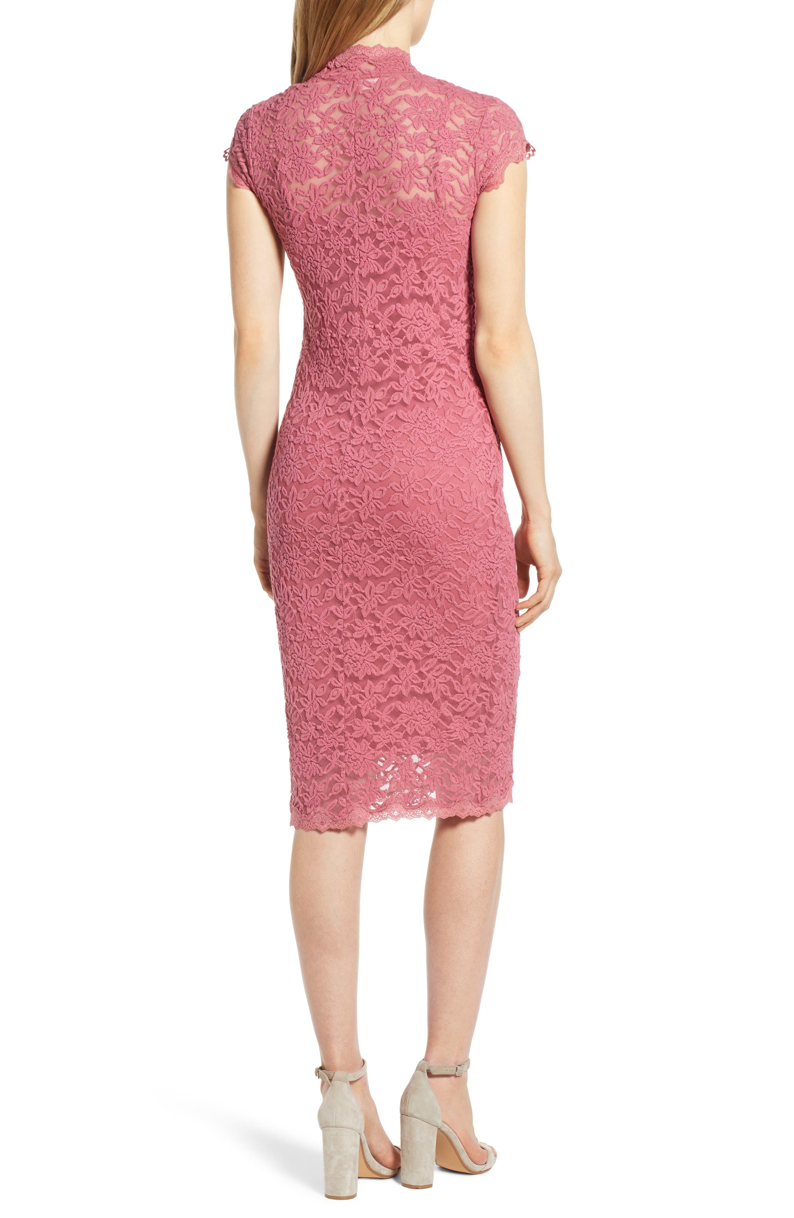 ROSEMUNDE, Delicia Lace Body-Con Dress, Alternate thumbnail 2, color, ROSEWINE 356