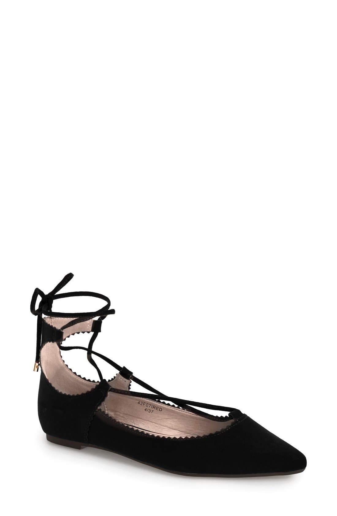 TOPSHOP, 'Finest Shillie' Lace-Up Pointy Toe Flat, Main thumbnail 1, color, 001