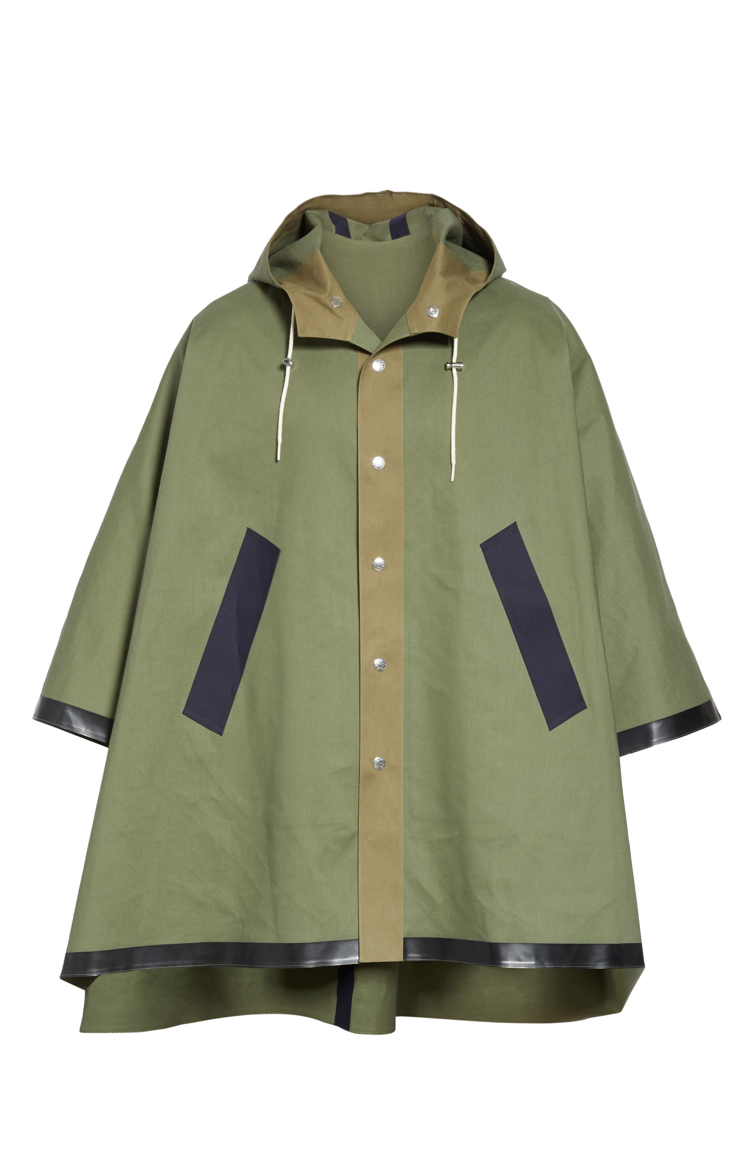 MACKINTOSH, Gents Bonded Cotton Hooded Poncho, Main thumbnail 1, color, FOUR LEAF CLOVER/ BLUE DEPTH