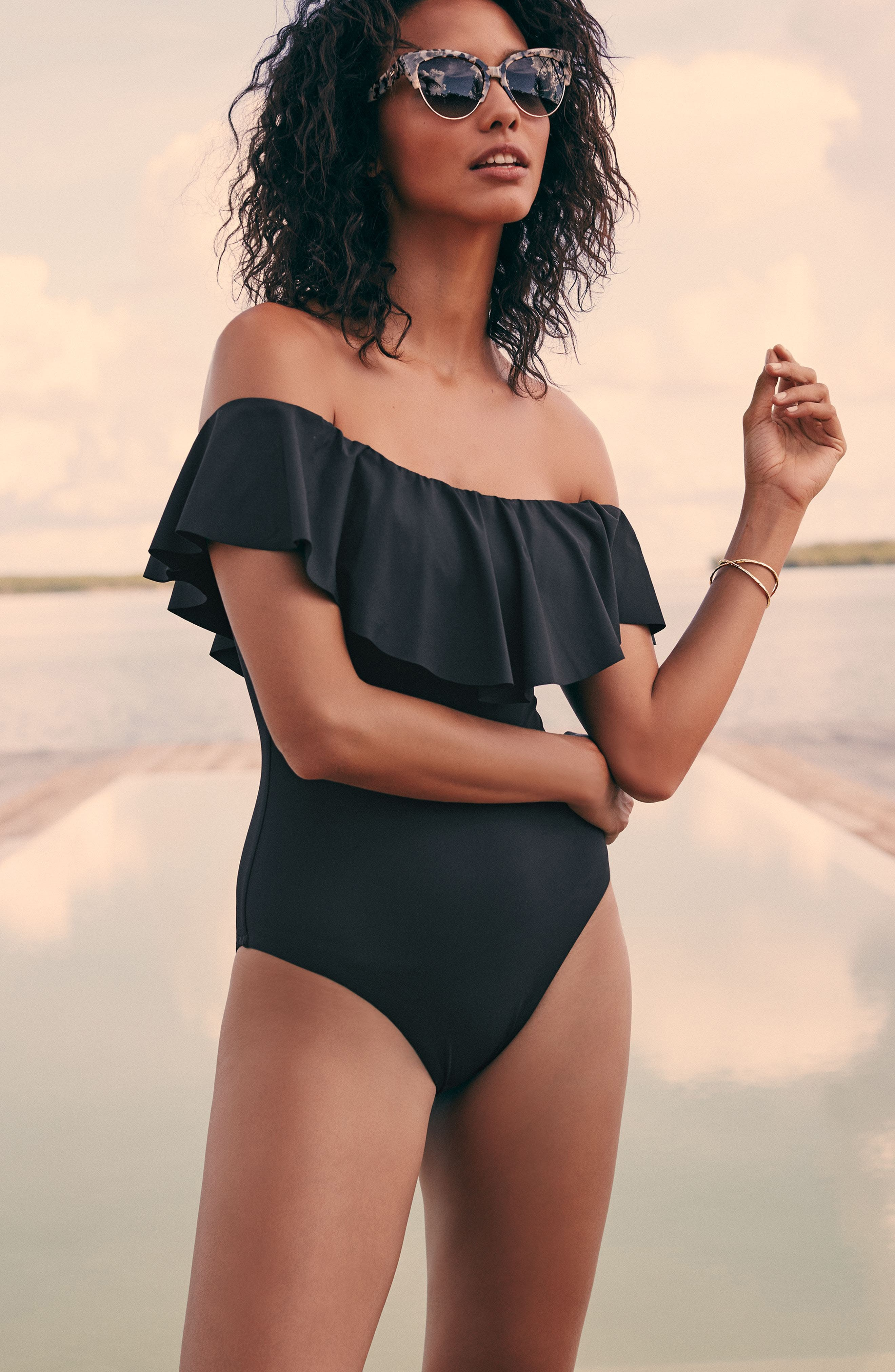 TRINA TURK, Off the Shoulder One-Piece Swimsuit, Alternate thumbnail 6, color, 001