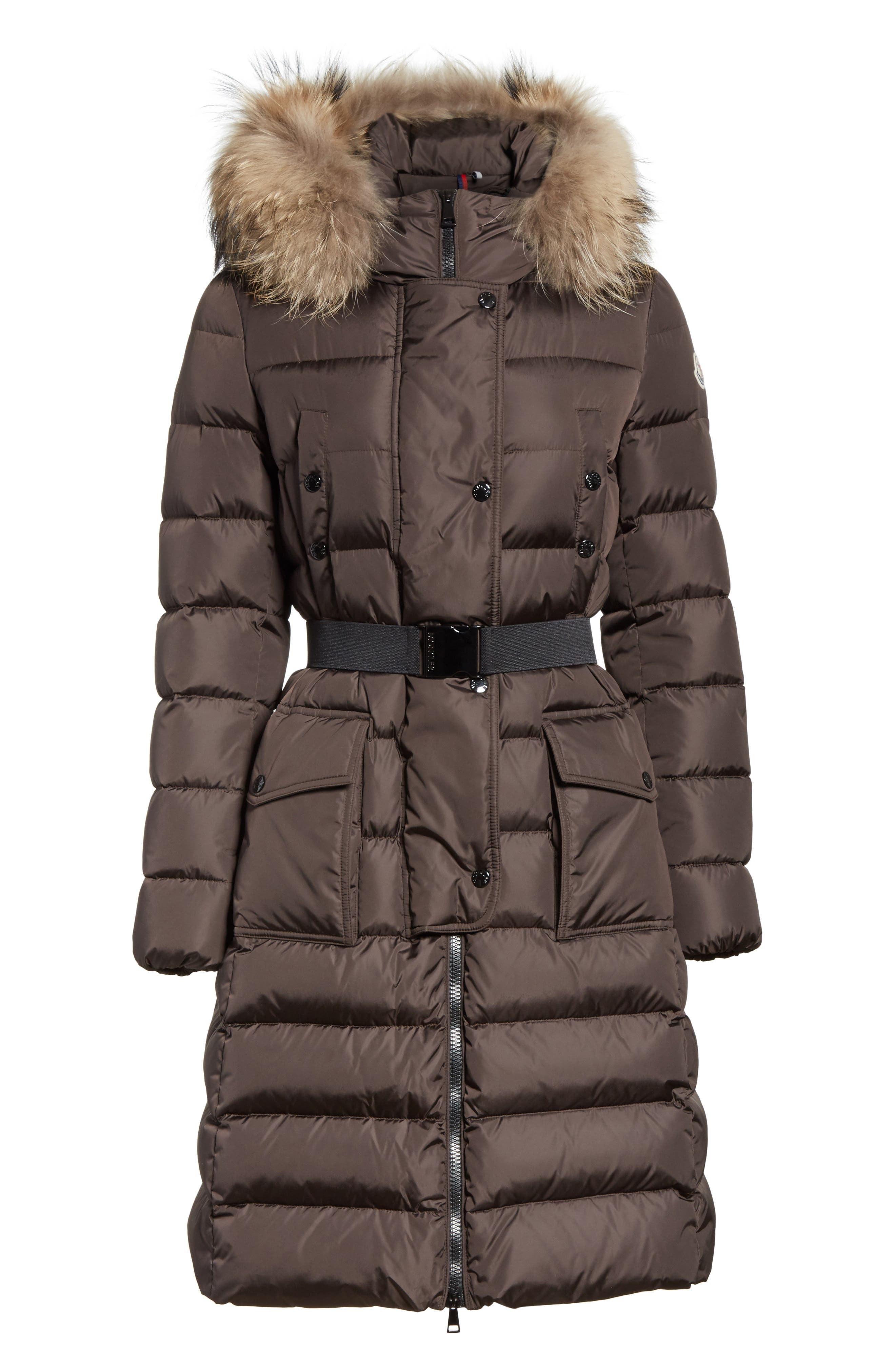 MONCLER, 'Khloe' Water Resistant Nylon Down Puffer Parka with Removable Genuine Fox Fur Trim, Alternate thumbnail 6, color, BROWN