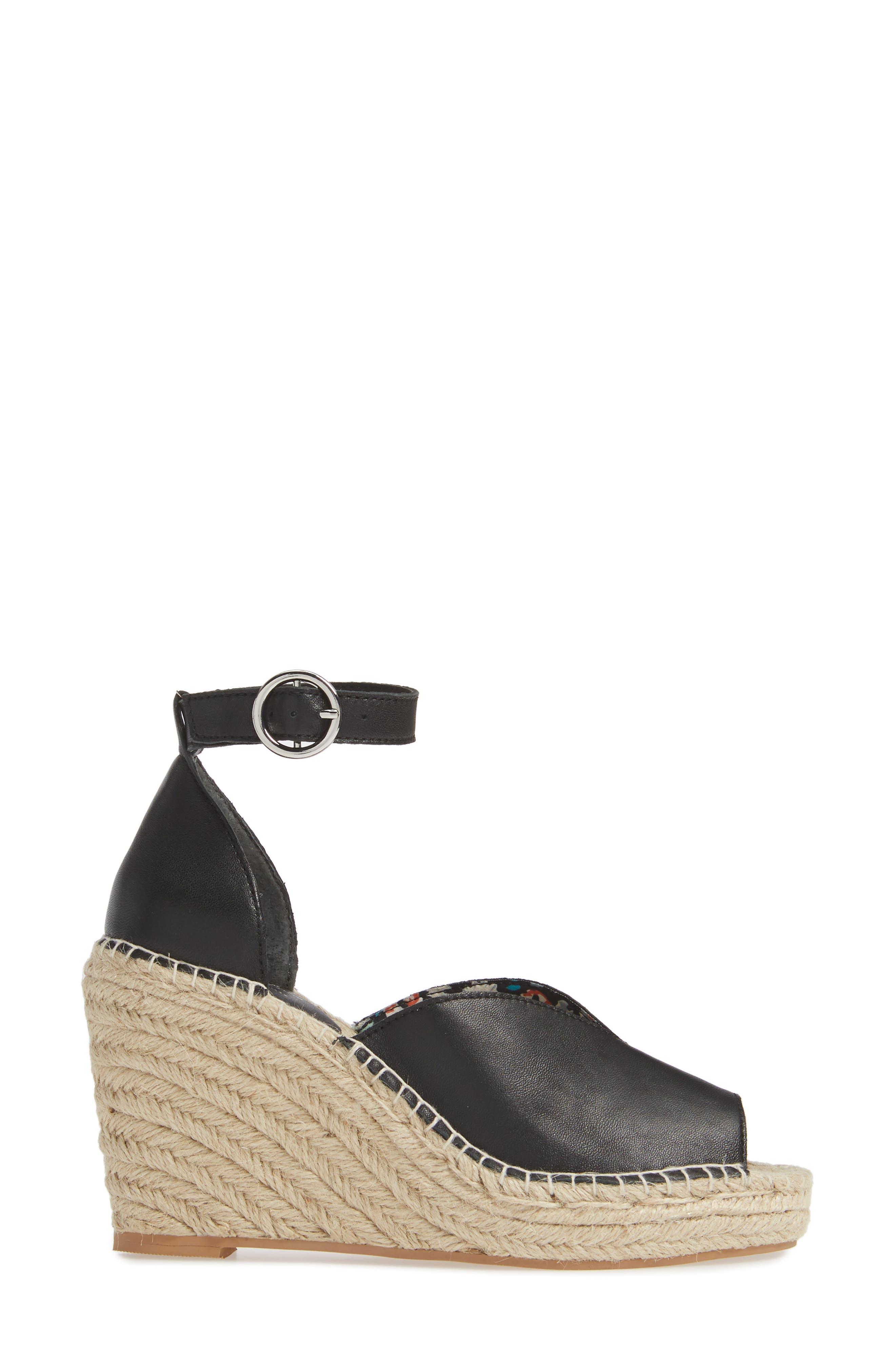 SEYCHELLES, Collectibles Espadrille Wedge Sandal, Alternate thumbnail 3, color, BLACK LEATHER