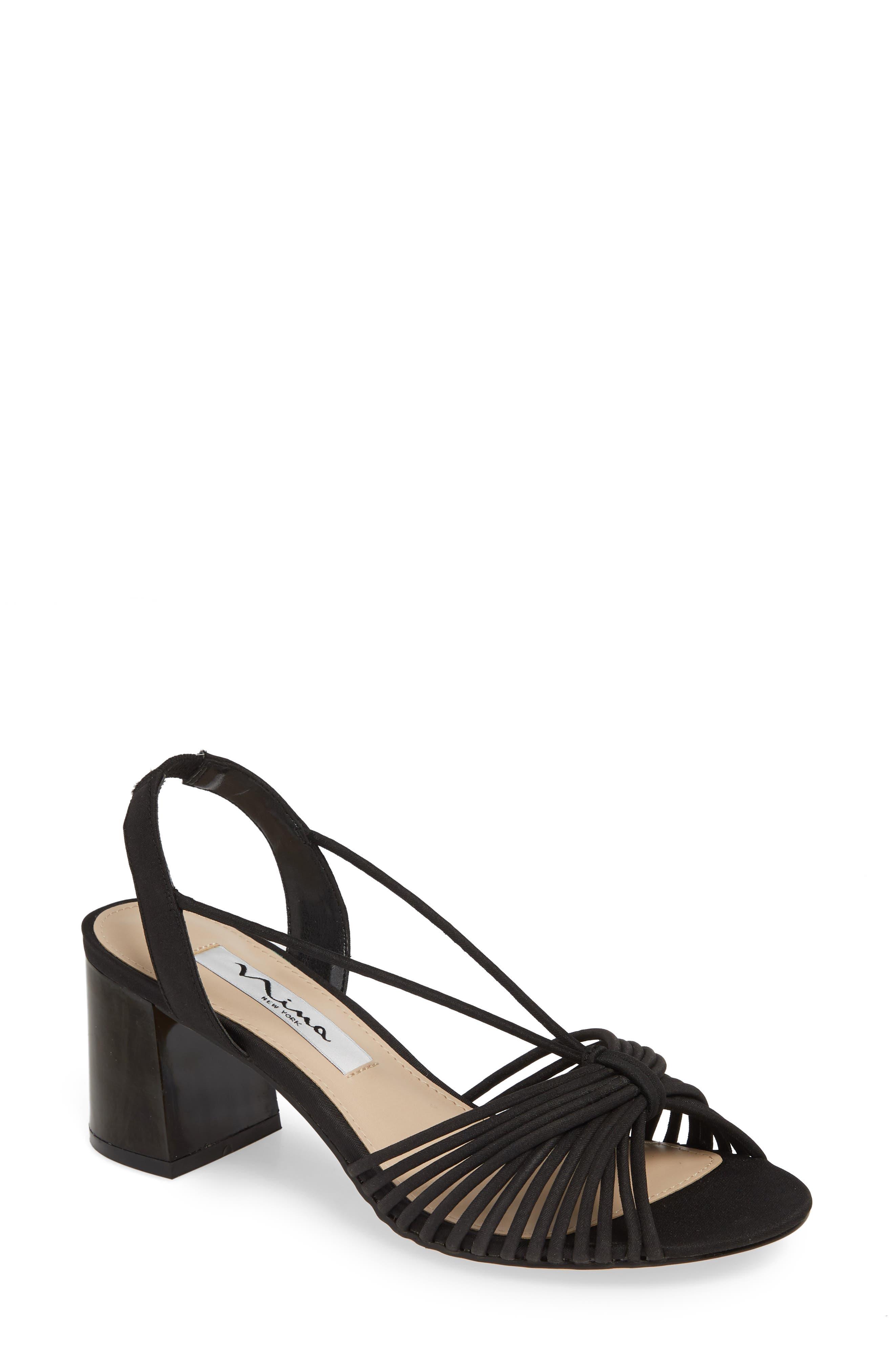 NINA, Nadelyn Strappy Sandal, Main thumbnail 1, color, BLACK FABRIC