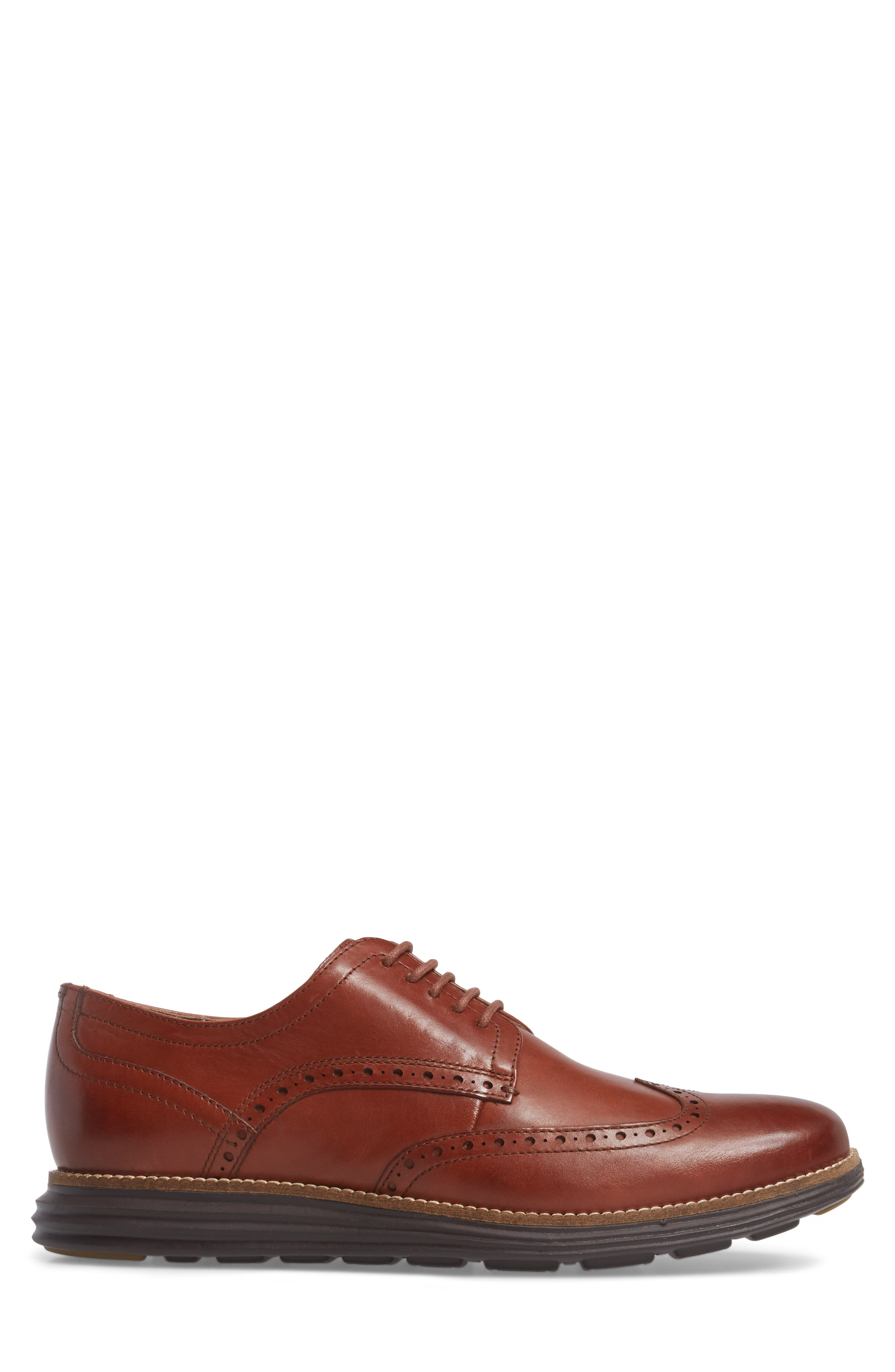 COLE HAAN, Original Grand Wingtip, Alternate thumbnail 3, color, WOODBURY/ JAVA LEATHER