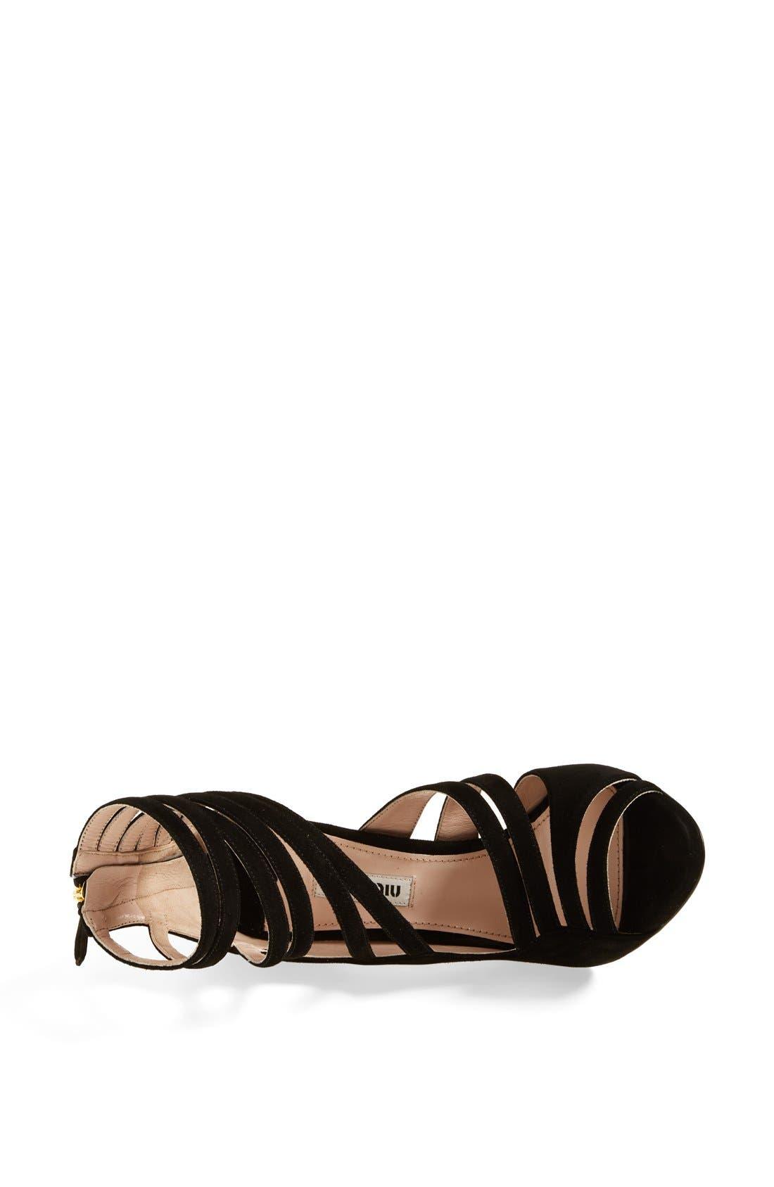 MIU MIU, Asymmetrical Strappy Sandal, Alternate thumbnail 3, color, 001
