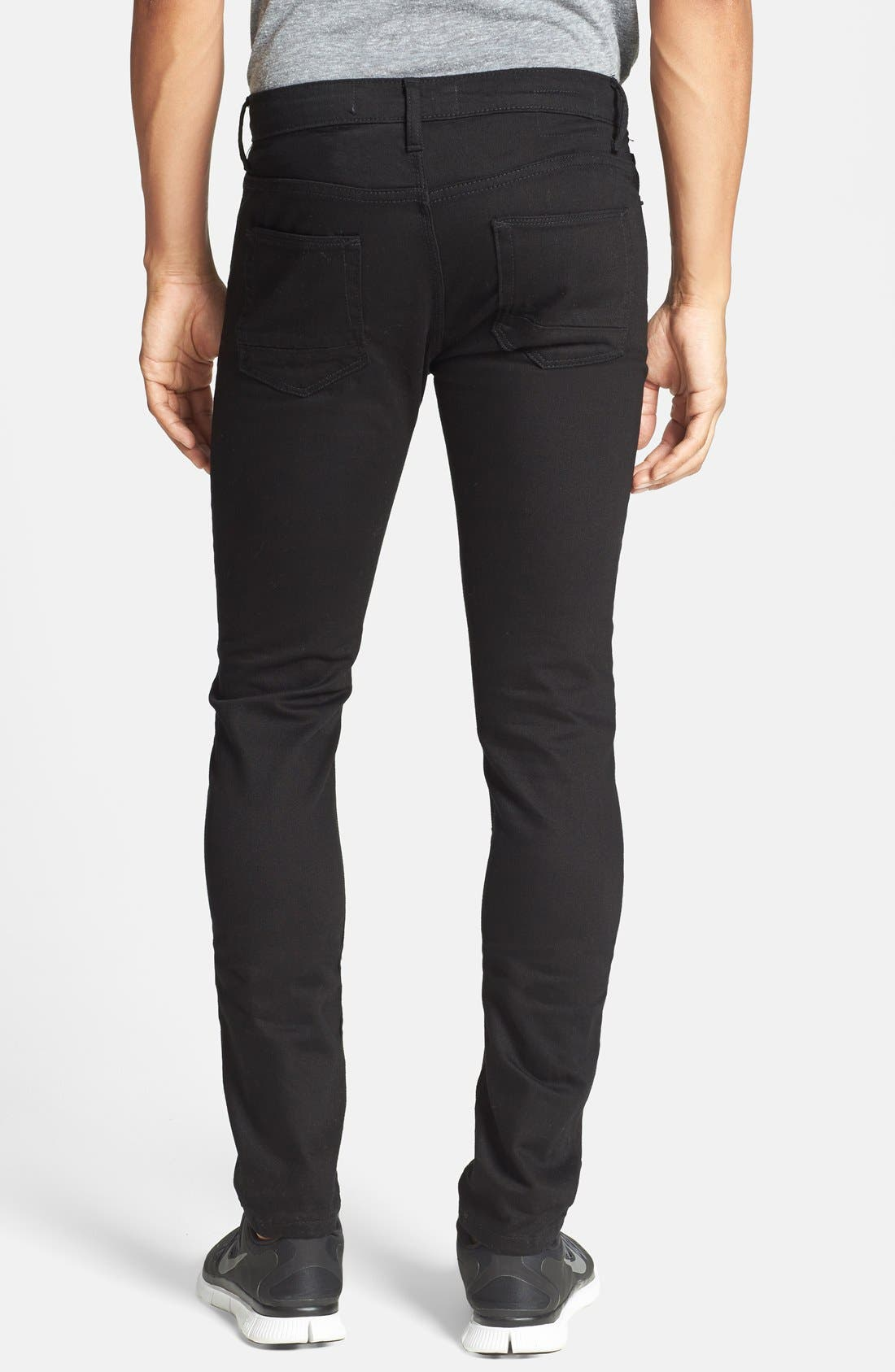 TOPMAN, Stretch Skinny Fit Jeans, Alternate thumbnail 2, color, 001