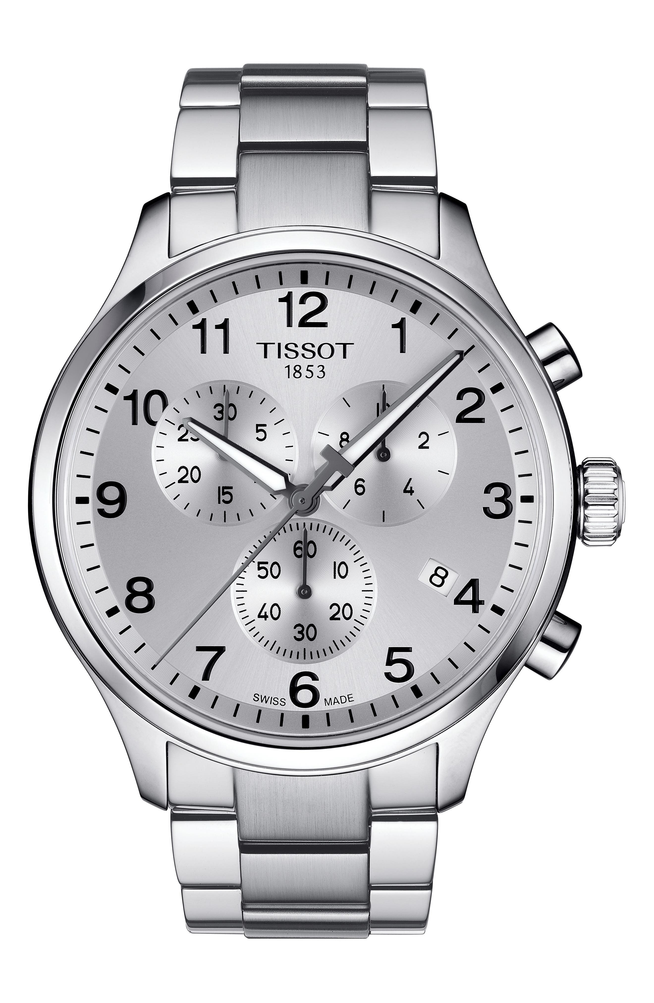 TISSOT, Chrono XL Collection Chronograph Bracelet Watch, 45mm, Main thumbnail 1, color, SILVER