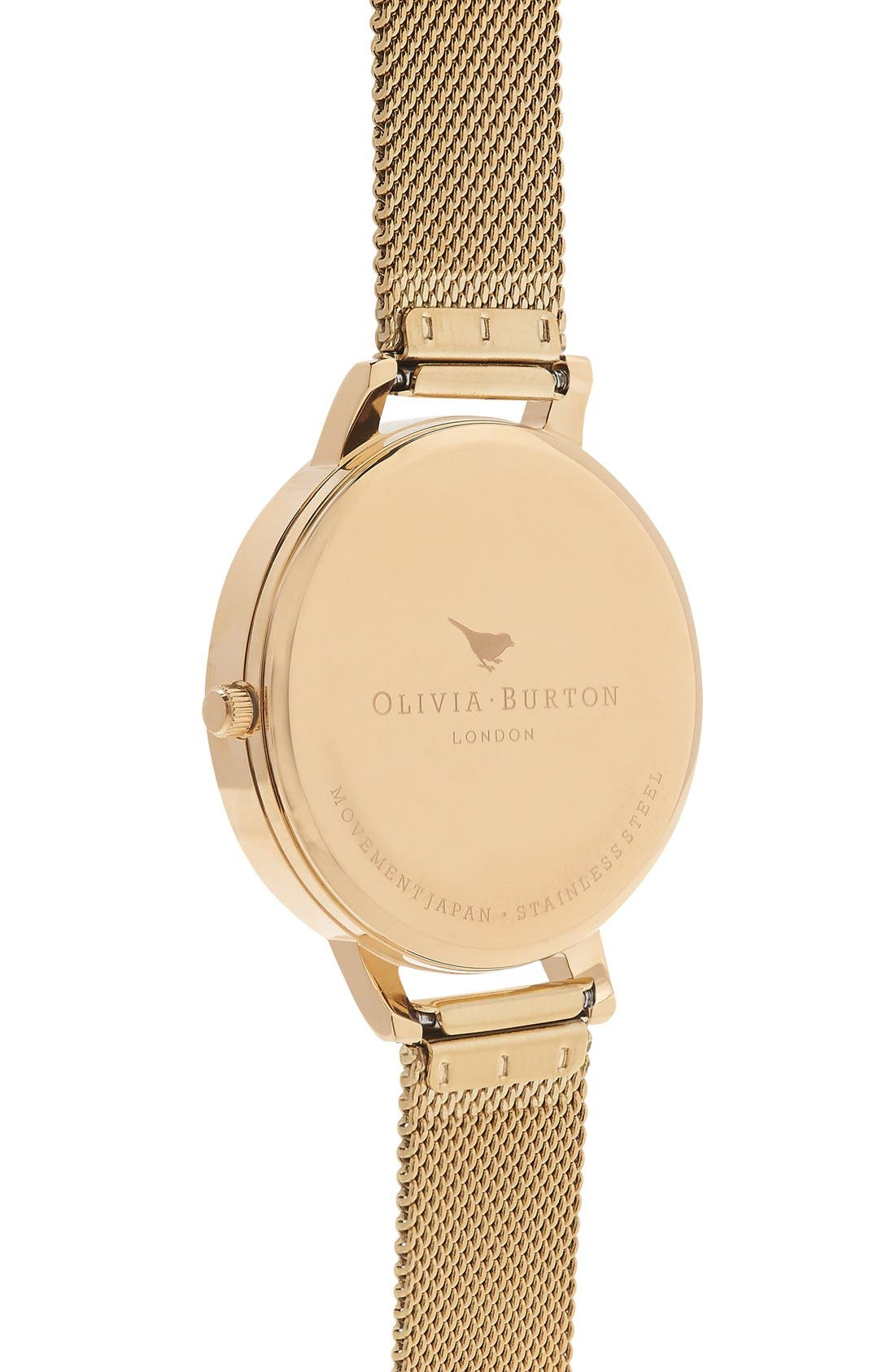 OLIVIA BURTON, 'Big Dial' Mesh Strap Watch, 38mm, Alternate thumbnail 4, color, GOLD/ WHITE