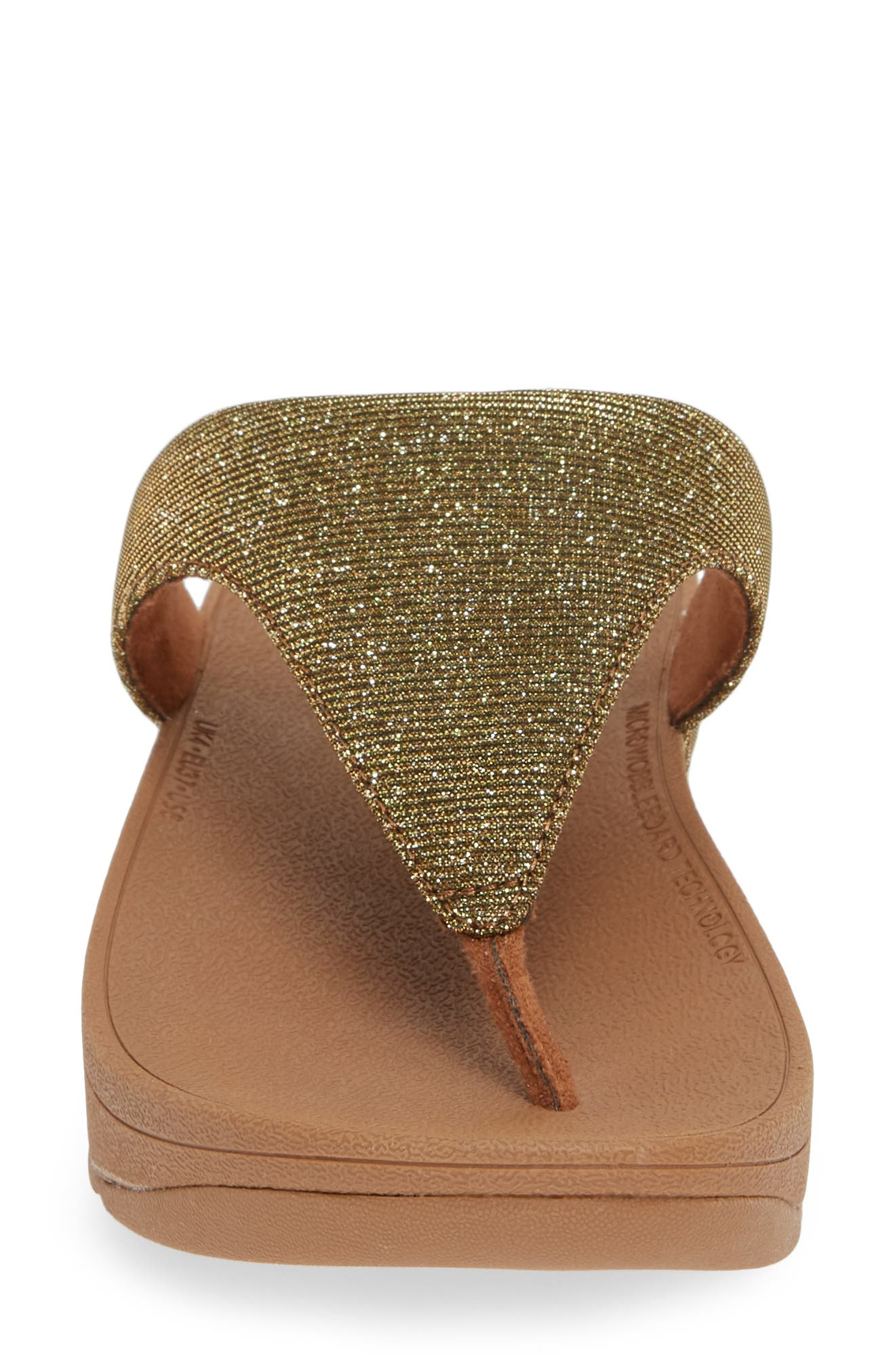 FITFLOP, Lottie Glitzy Wedge Flip Flop, Alternate thumbnail 4, color, ARTISAN GOLD