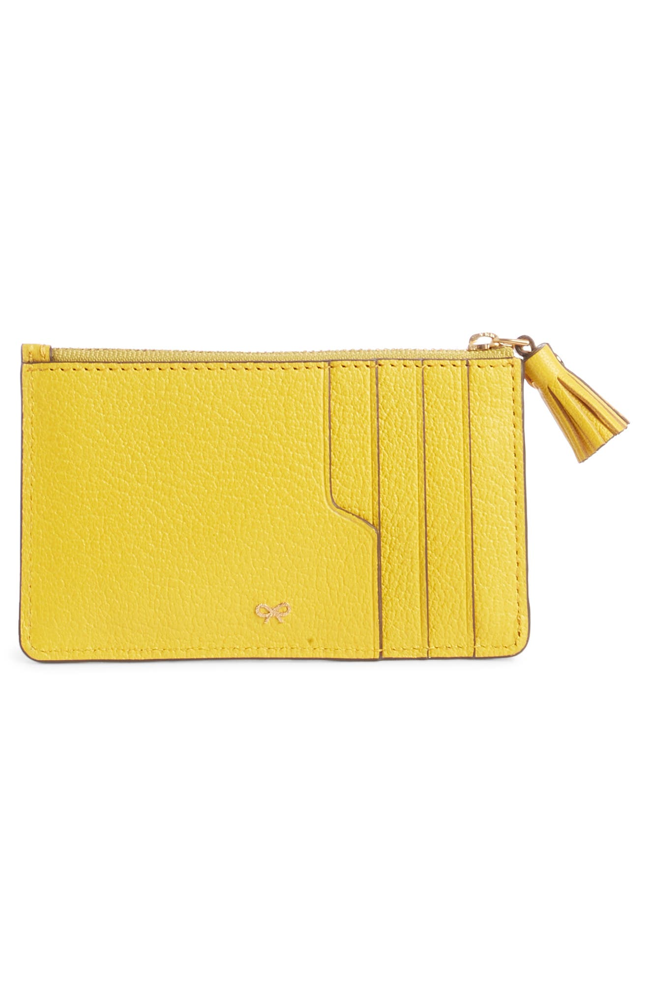 ANYA HINDMARCH, Eyes Leather Card Case, Alternate thumbnail 2, color, YELLOW
