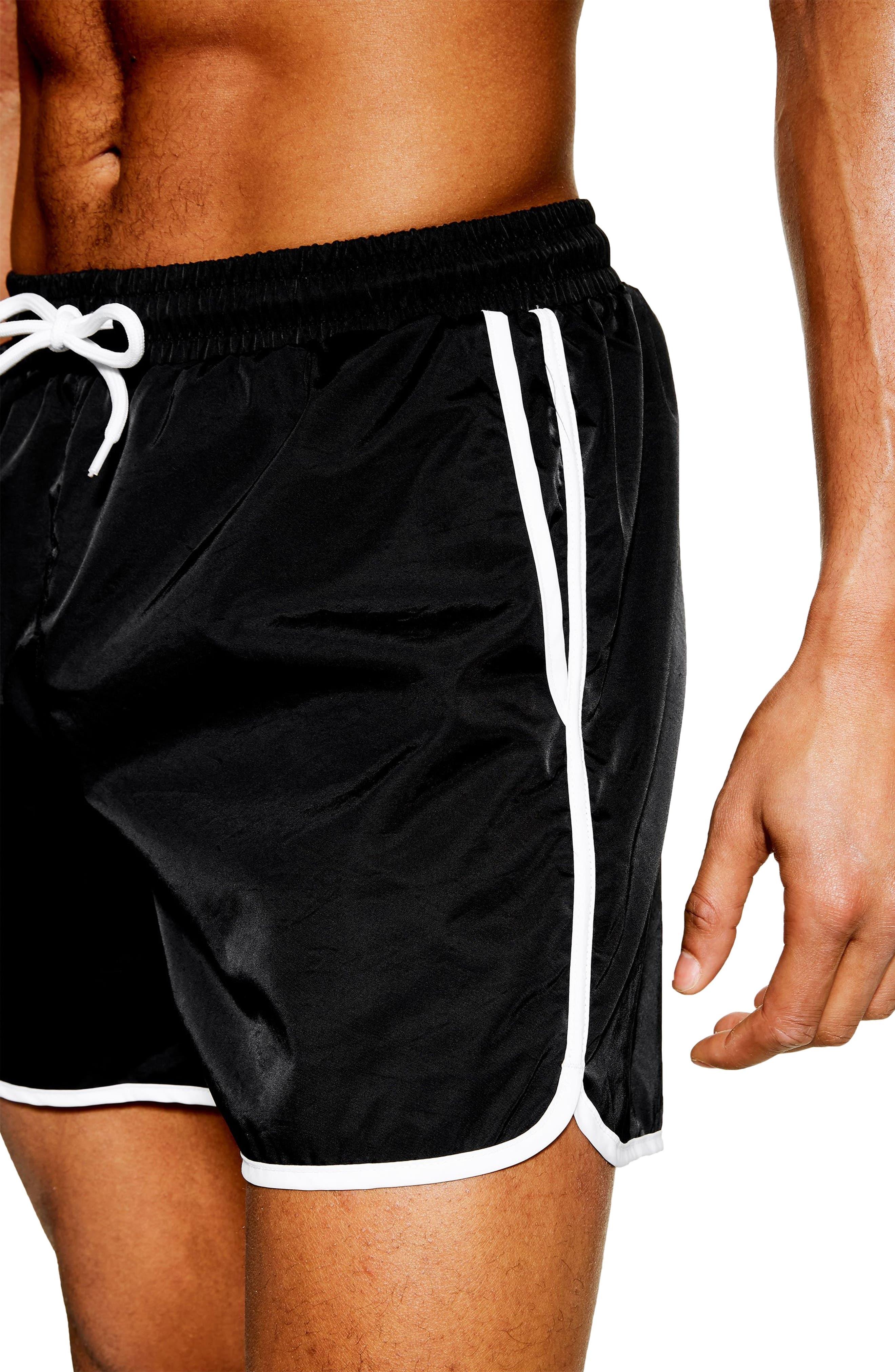 TOPMAN, Runner Swim Trunks, Alternate thumbnail 3, color, BLACK MULTI