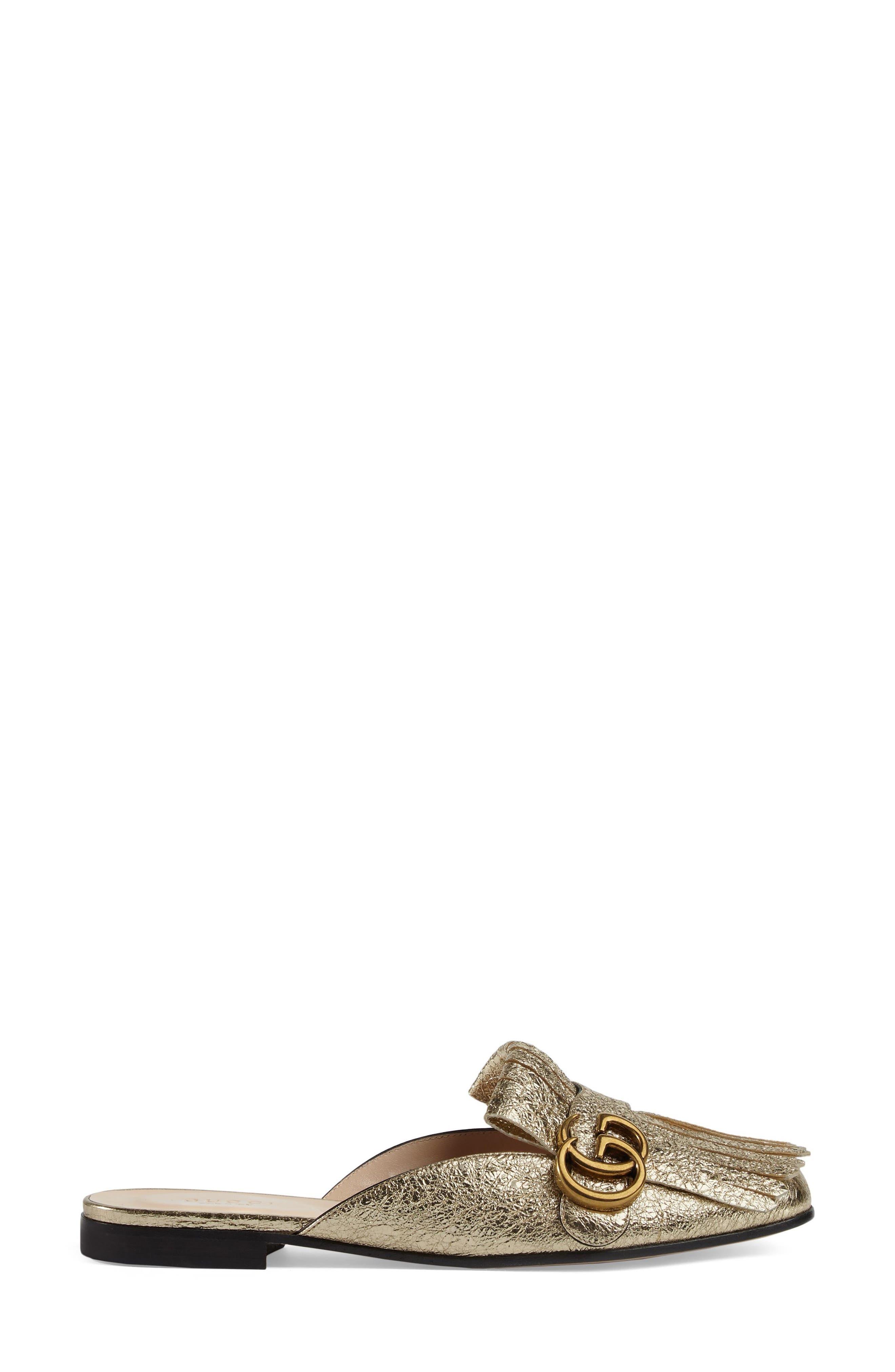 GUCCI GG Marmont Metallic Kiltie Mule, Main, color, METALLIC GOLD
