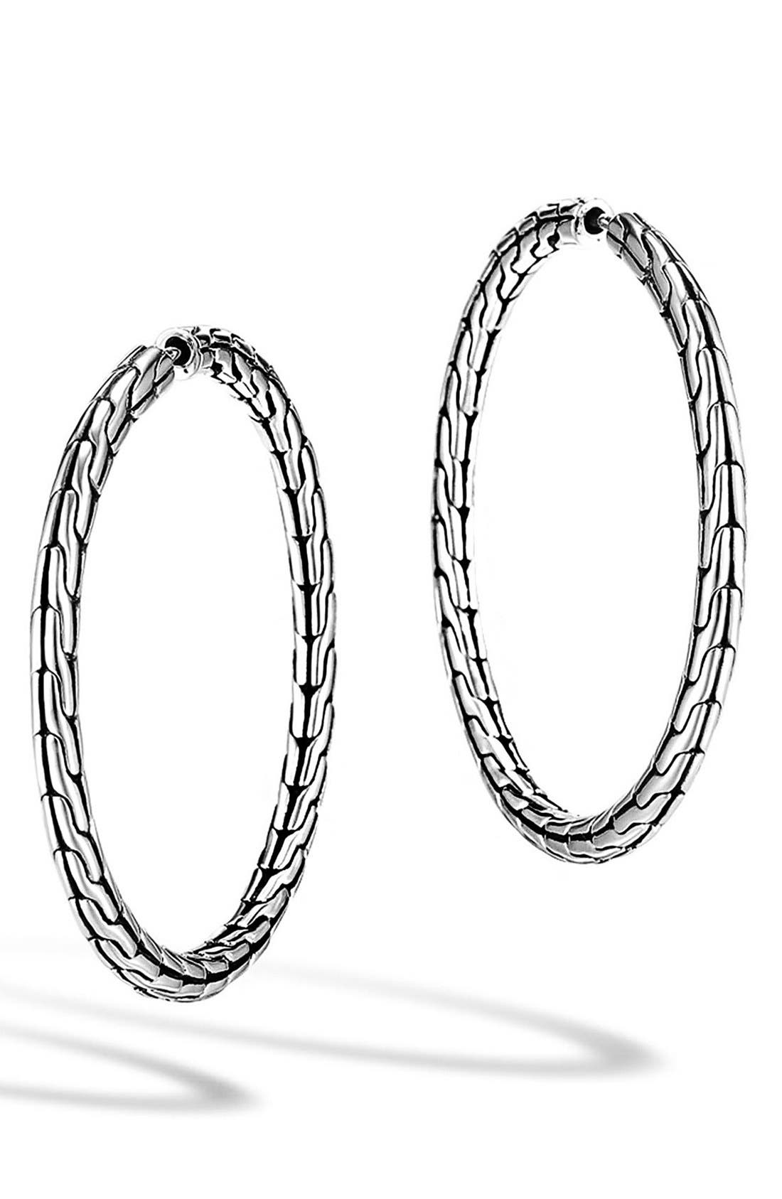 JOHN HARDY, 'Classic Chain' Medium Hoop Earrings, Main thumbnail 1, color, STERLING SILVER