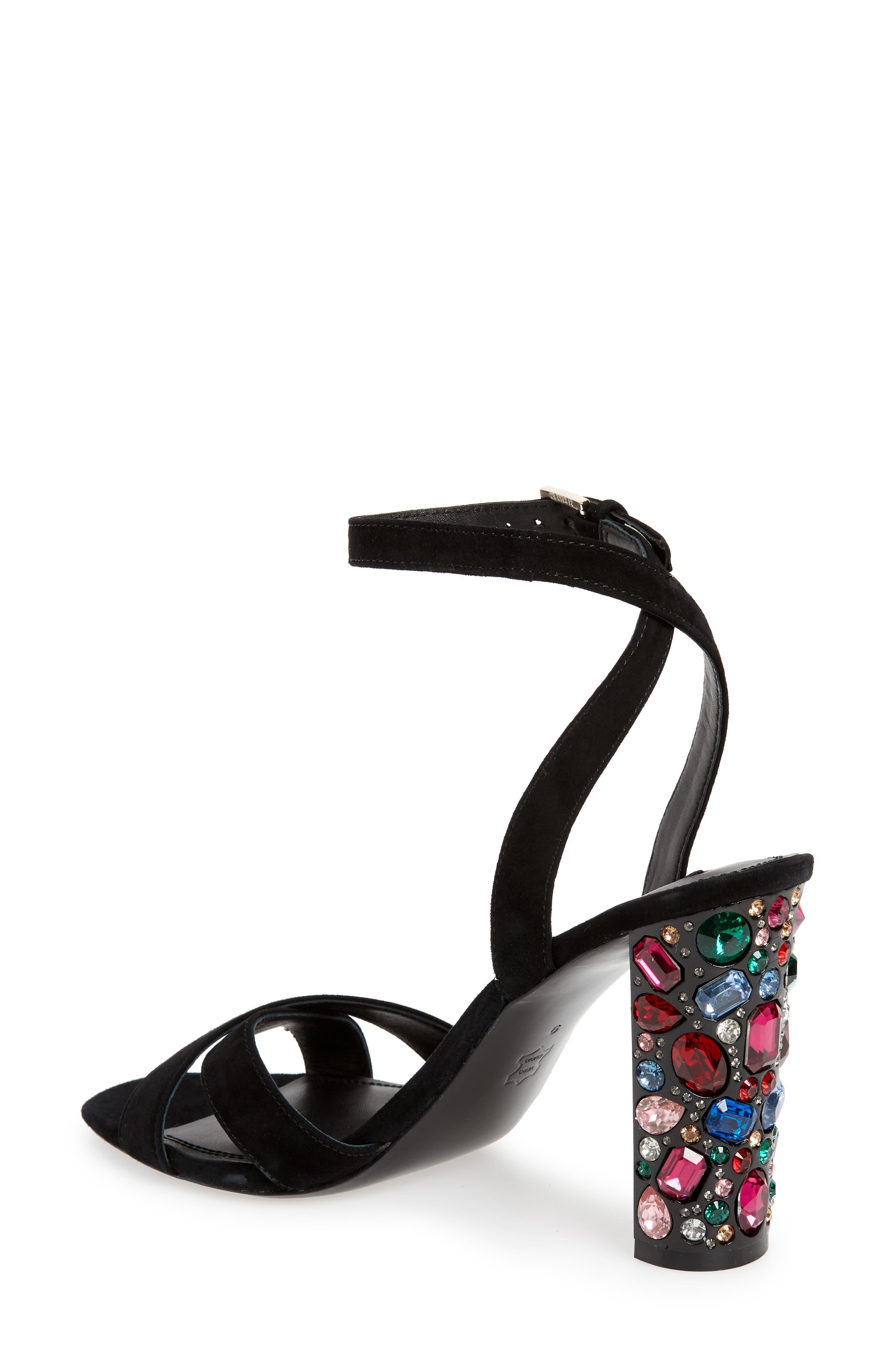 ALICE + OLIVIA, Renia Crystal Heel Sandal, Alternate thumbnail 2, color, BLACK