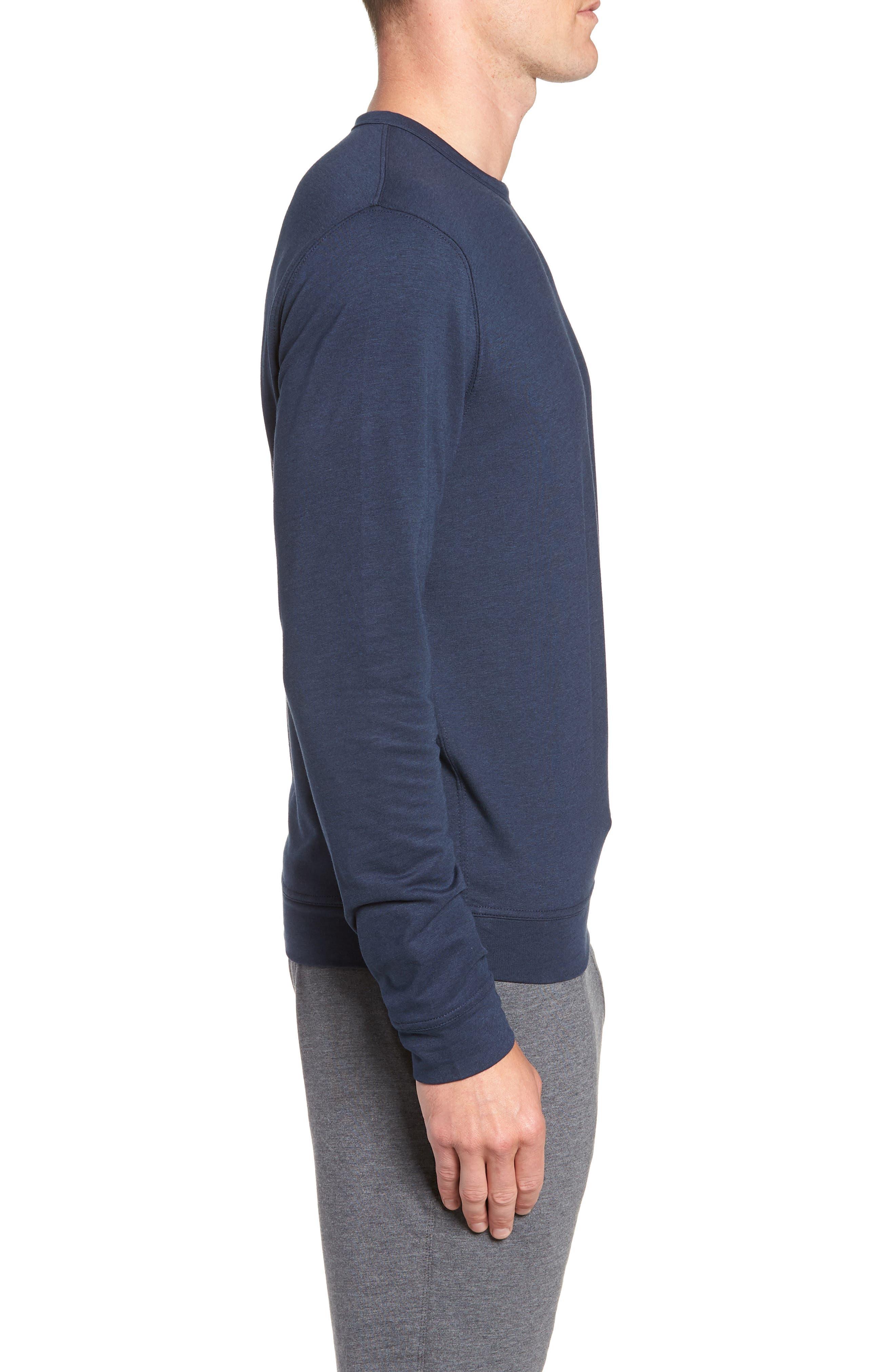 TASC PERFORMANCE, Legacy Crewneck Semi Fitted Sweatshirt, Alternate thumbnail 3, color, CLASSIC NAVY