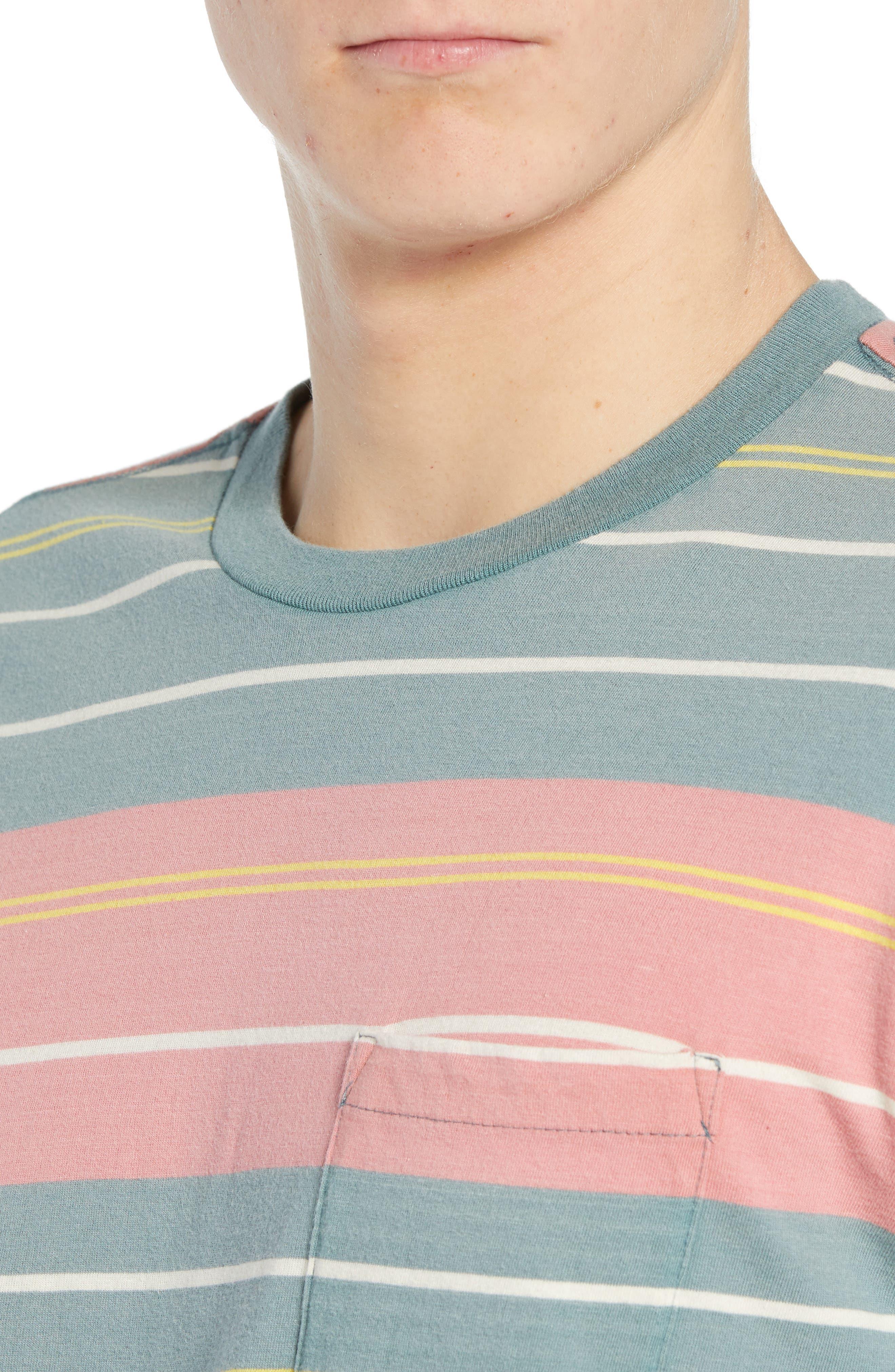 RVCA, Rusholme Stripe T-Shirt, Alternate thumbnail 4, color, PINE TREE