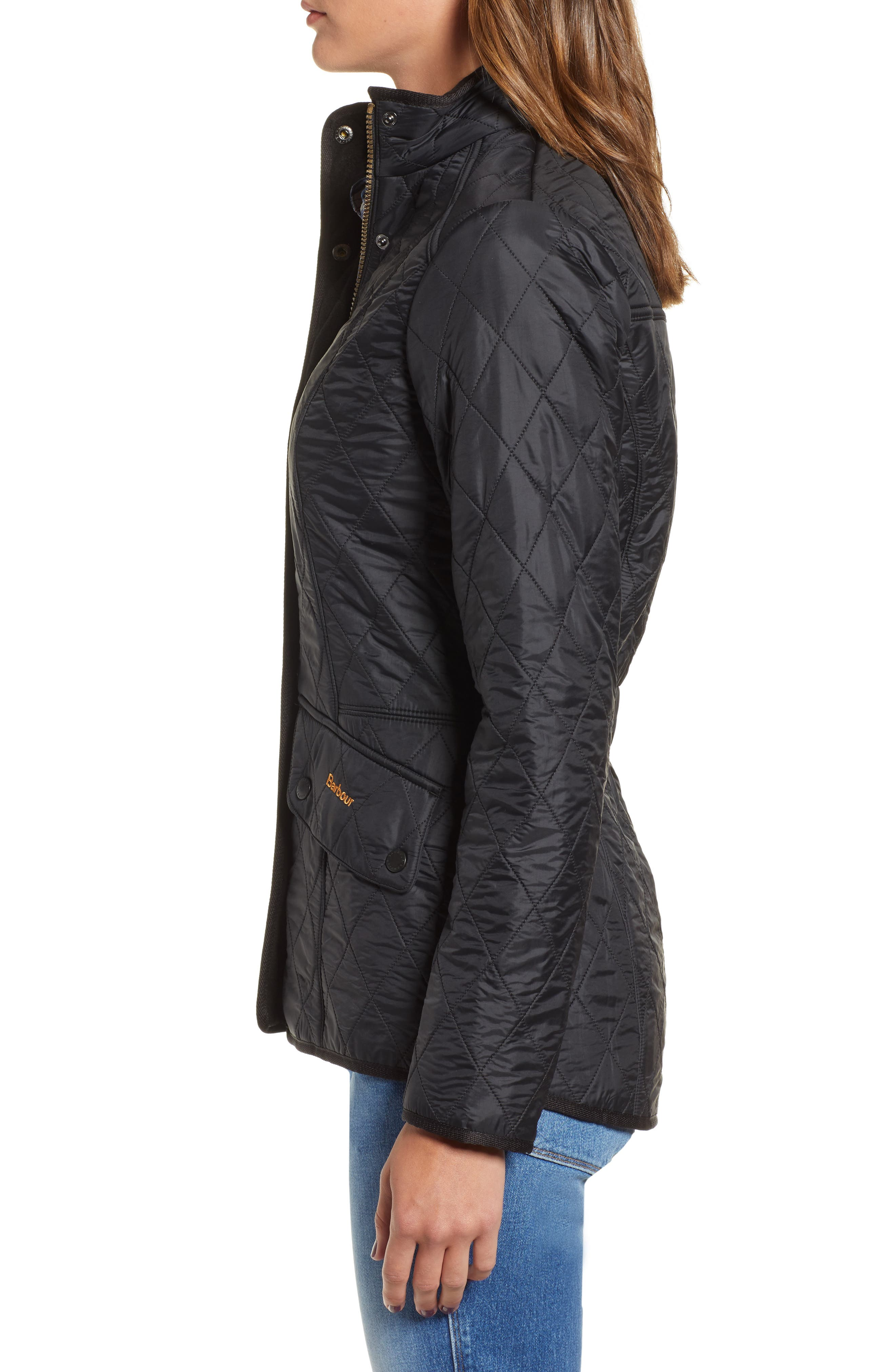 BARBOUR, 'Cavalry' Quilted Jacket, Alternate thumbnail 3, color, 001