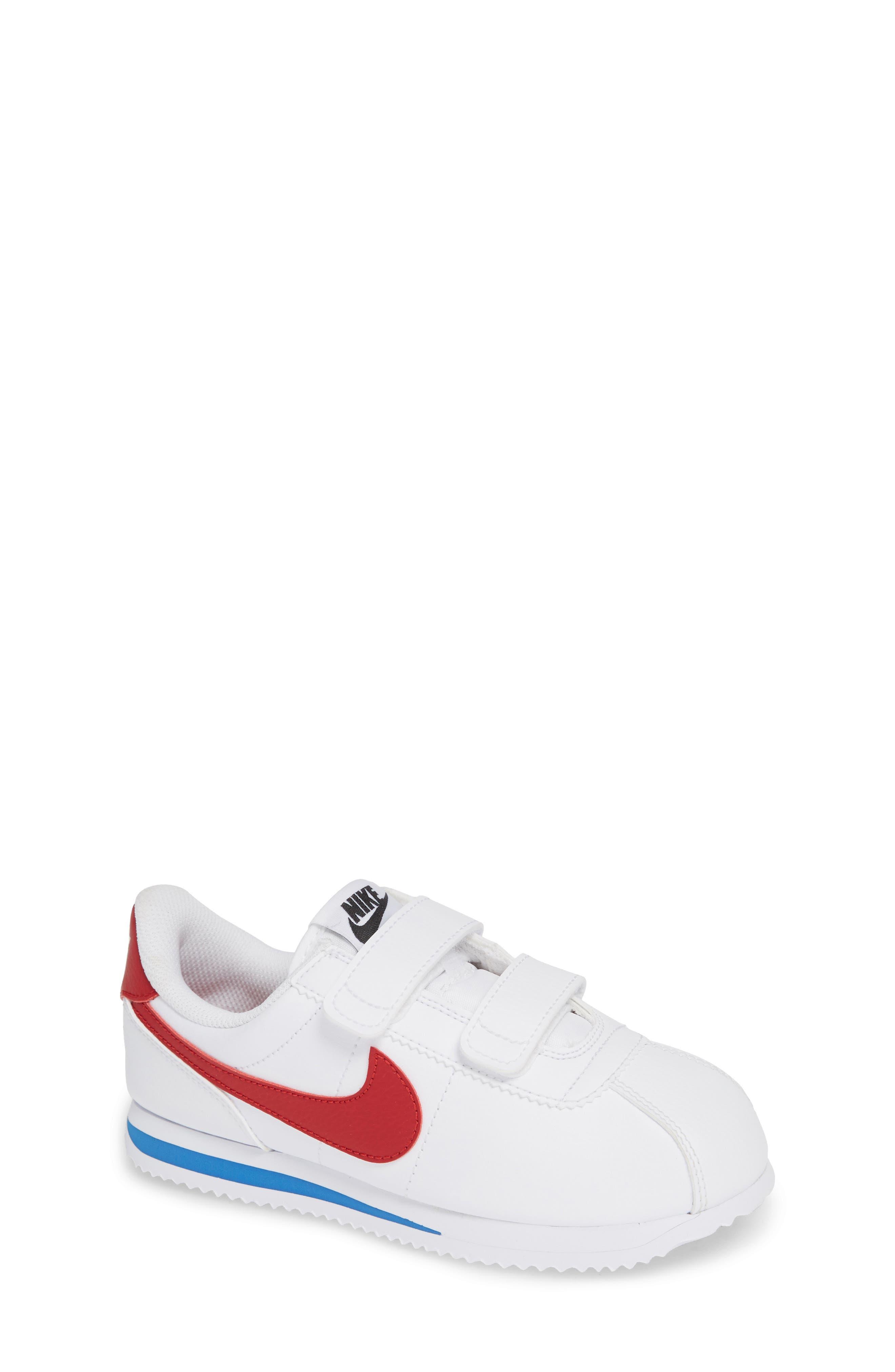 NIKE, Cortez Basic SL Sneaker, Main thumbnail 1, color, WHITE/ VARSITY RED/ BLACK