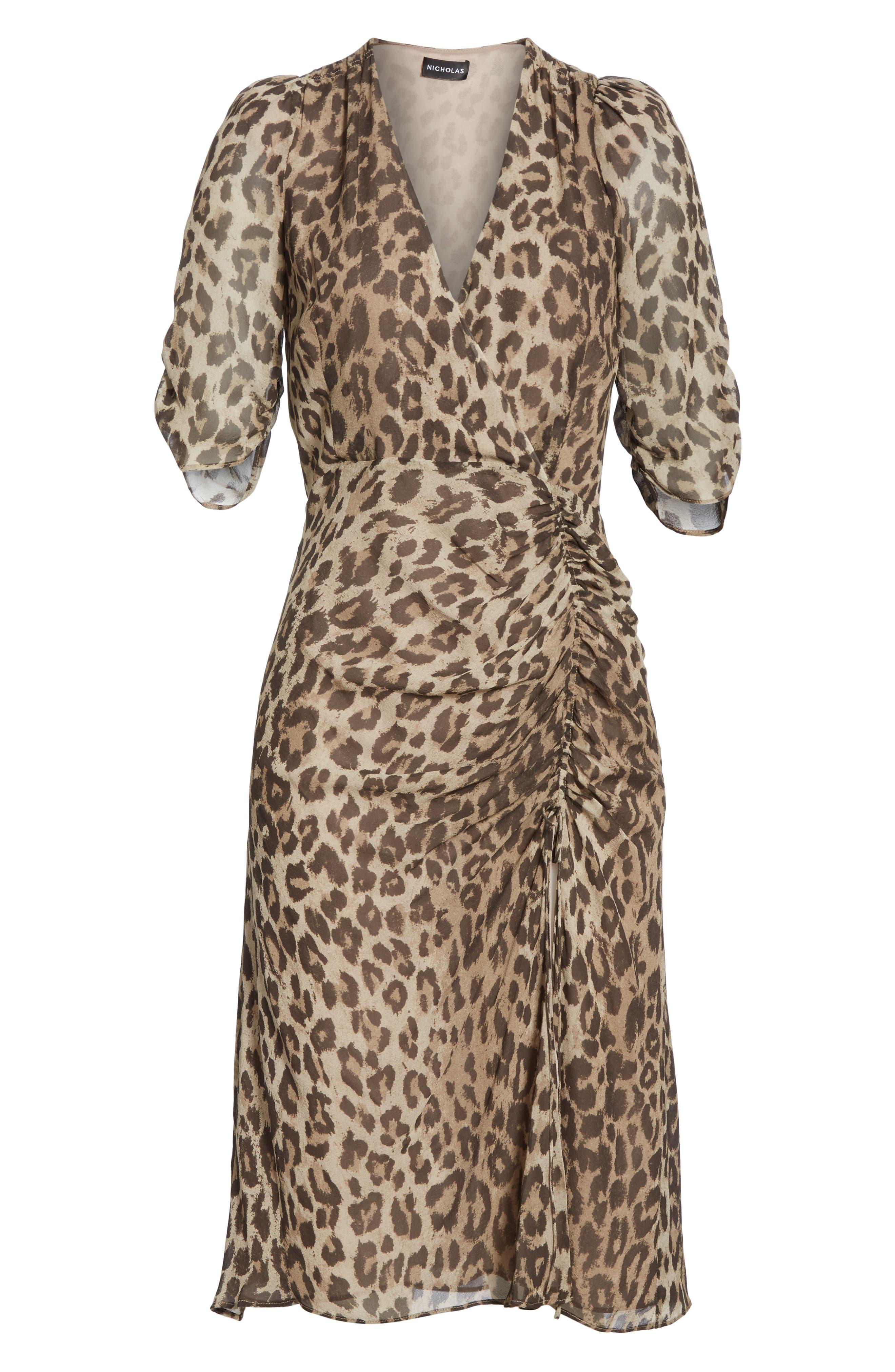 NICHOLAS, Ruched Leopard Print Silk Dress, Alternate thumbnail 6, color, 200