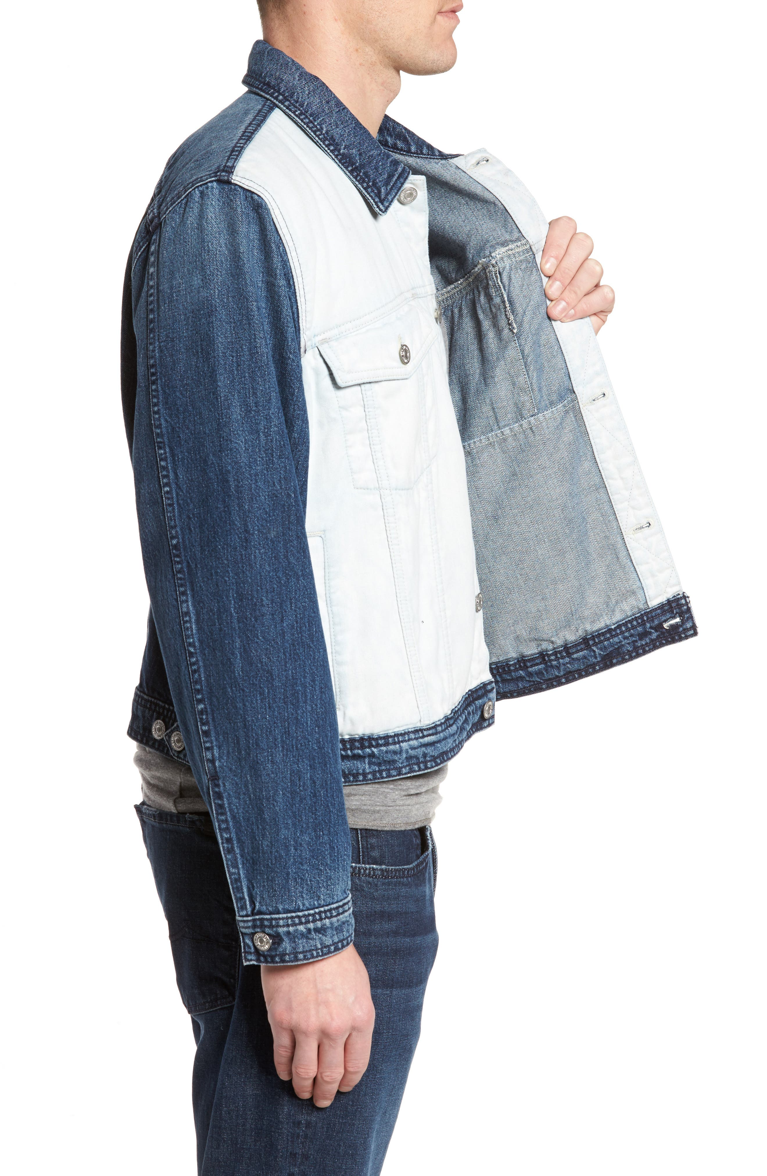 7 FOR ALL MANKIND<SUP>®</SUP>, Inside Out Trucker Jacket, Alternate thumbnail 3, color, VINTAGE BLUE