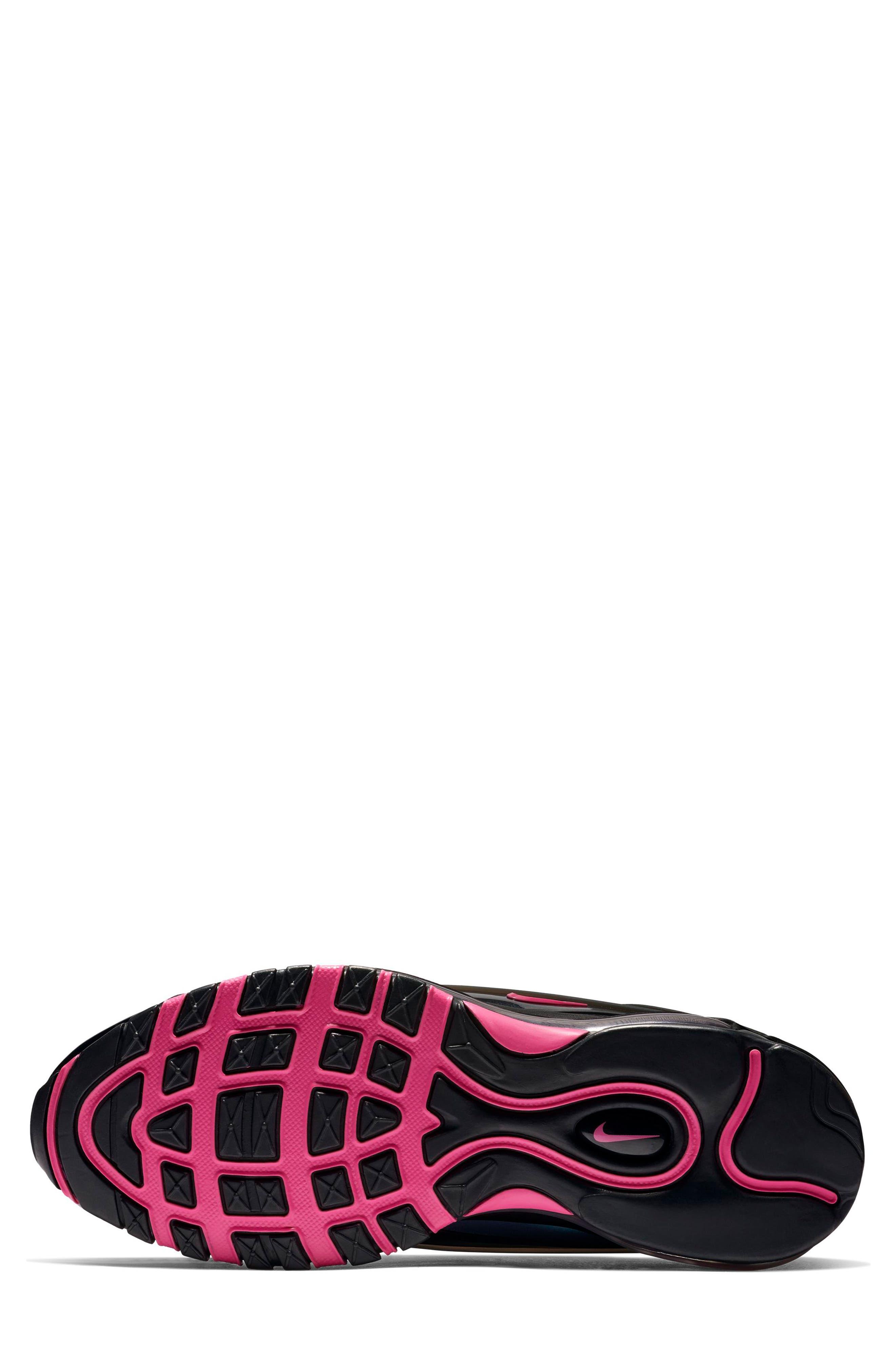 NIKE, Air Max Deluxe Sneaker, Alternate thumbnail 5, color, BLACK/ LASER FUCHSIA
